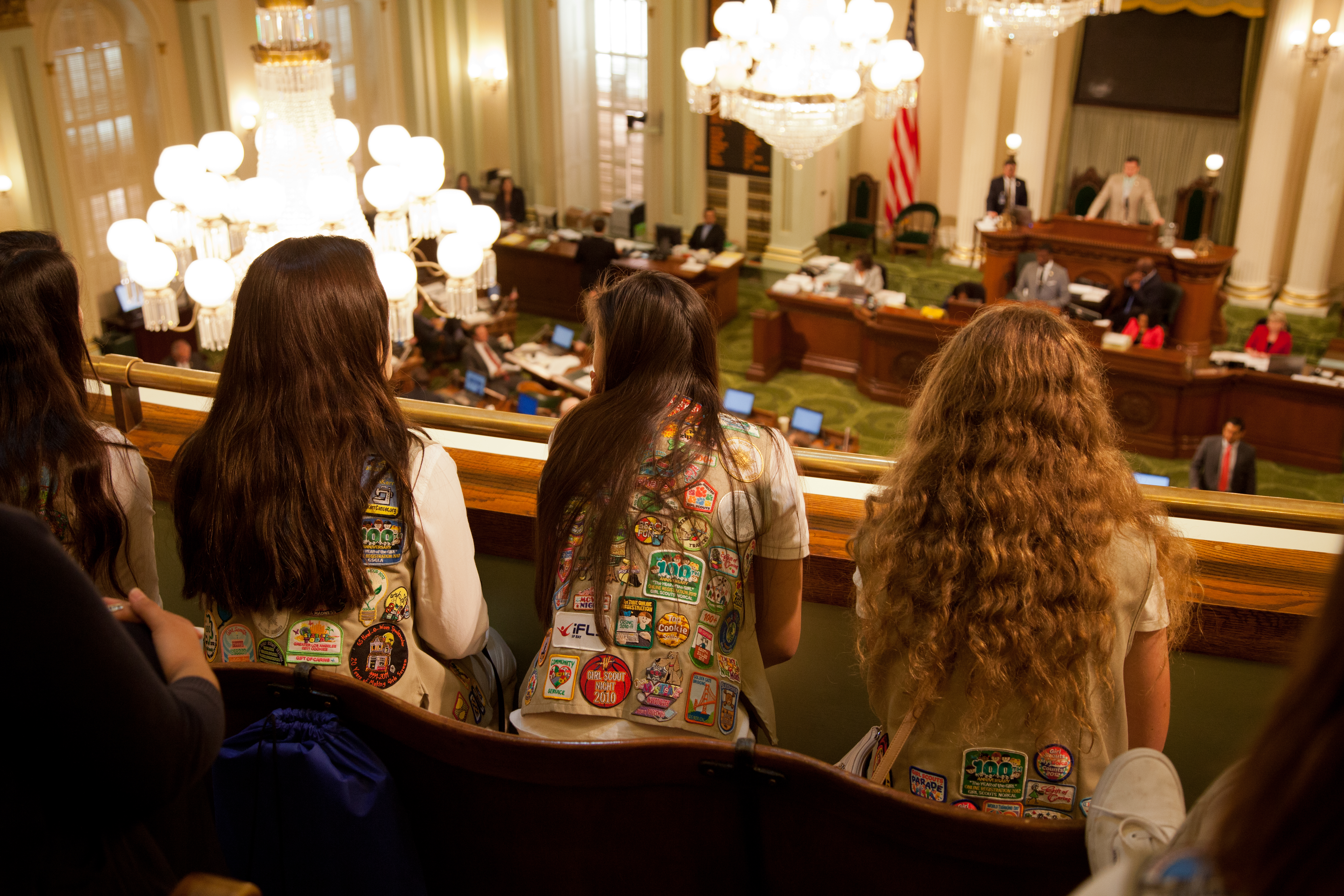 California Girl Scout Gold Award recipients look onto the Assembly floor during a proclamation recognizing the award's 100th anniversary on June 23, 2016 in Sacramento, California.