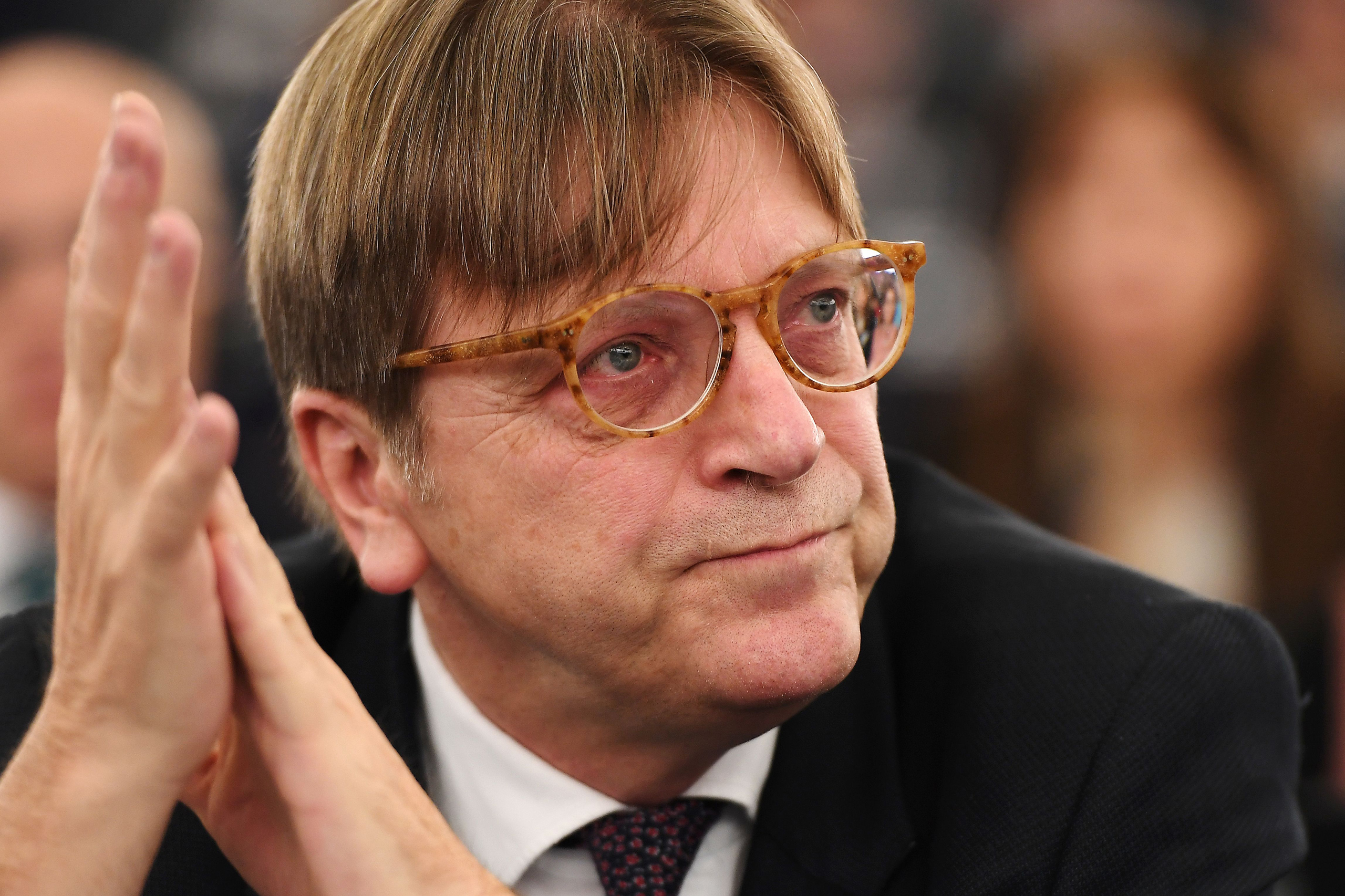 Alliance of liberals and Democrats for Europe (ALDE) group leader and Belgian member of the European Parliament Guy Verhofstadt looks on during the election for the office of the President at the European Parliament in Strasbourg, eastern France, on Jan. 17, 2016.