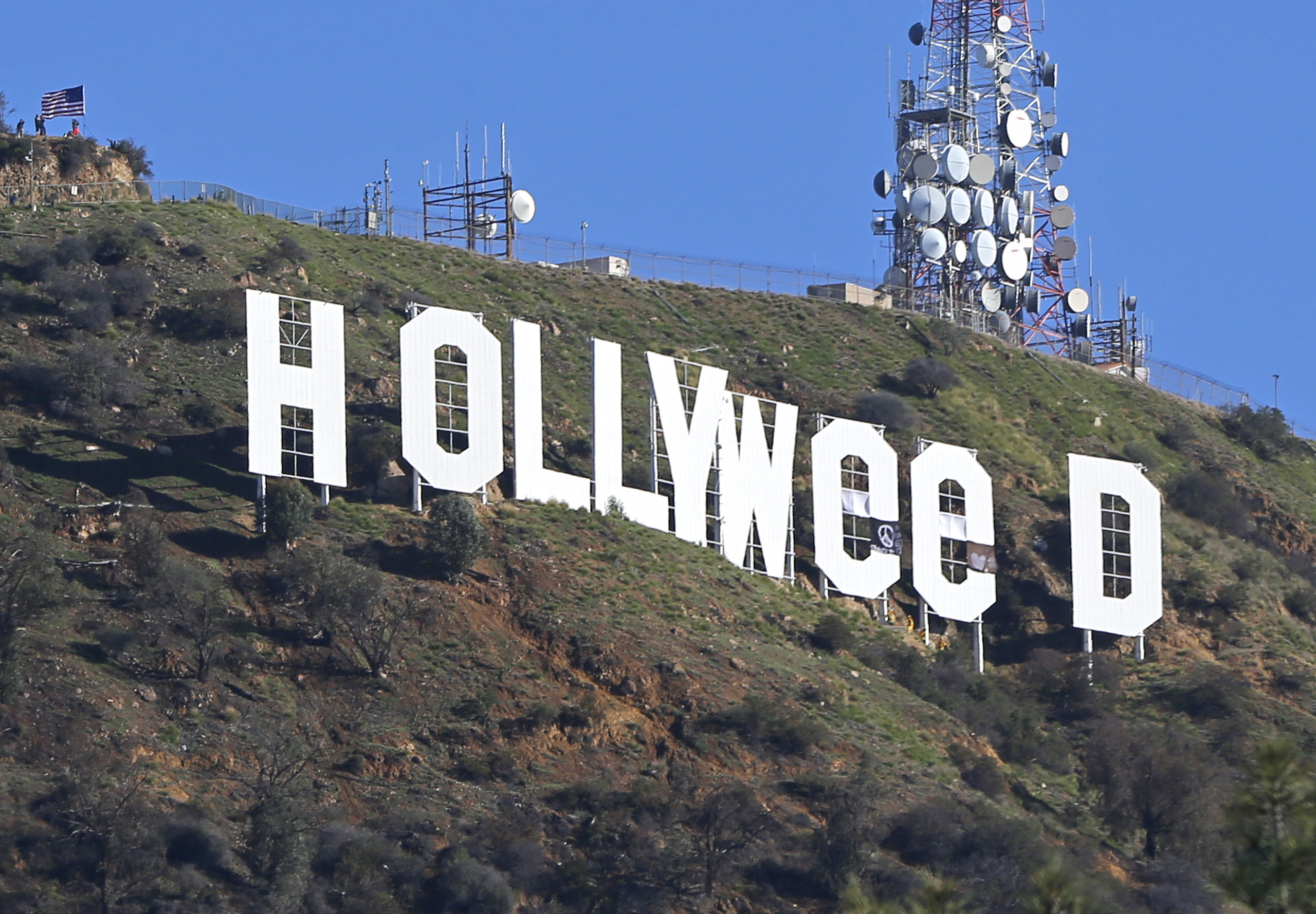 The Hollywood sign is seen vandalized on Sunday, Jan. 1, 2017.