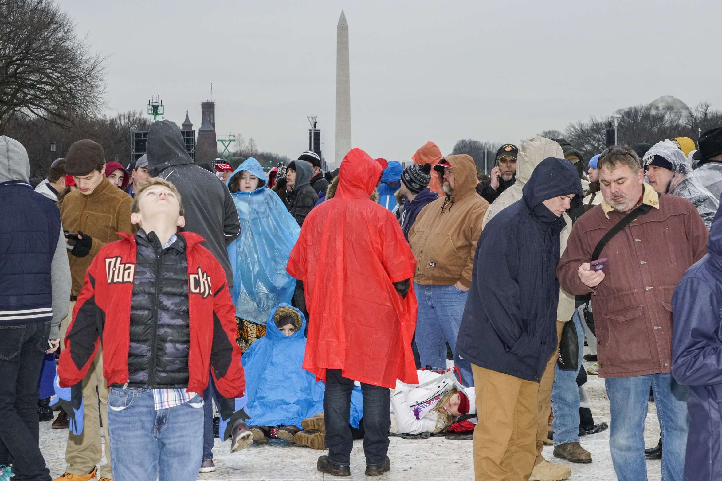 Crowds waiting for the inauguration of Donald Trump to be sworn in as the 45th President of the United States on the National Mall in Washington, D.C., Jan 20, 2017.
