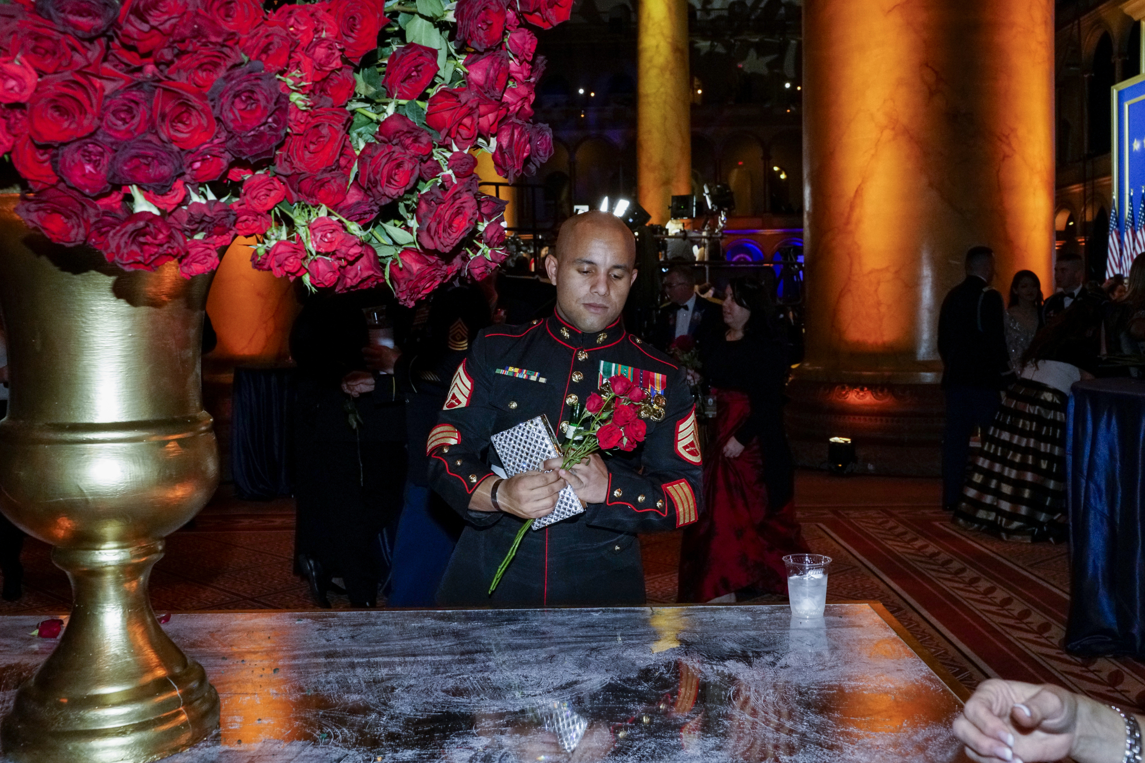 A member of the US Armed Forces at the Salute to Our Armed Services Inaugural Ball at the National Building Museum in Washington, D.C., on Jan 20, 2017.