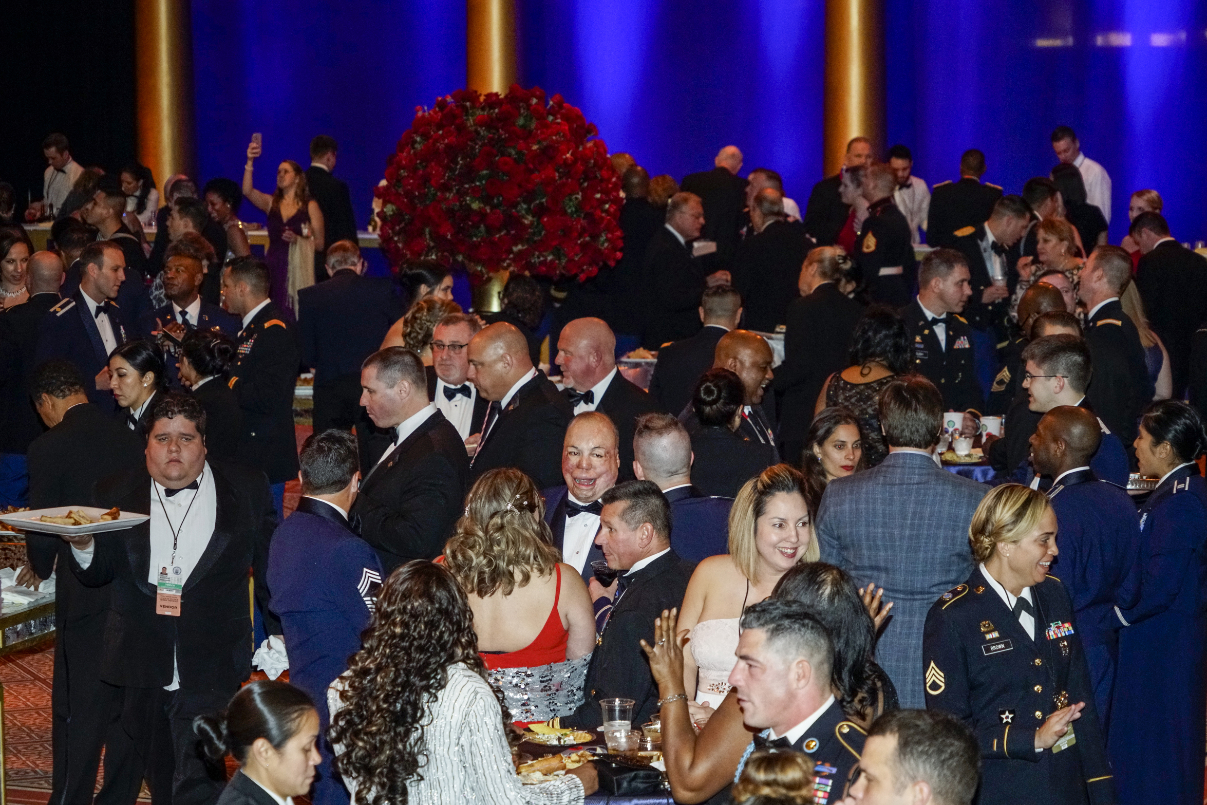 Members of the US Armed Forces mingle at the Salute to Our Armed Services Inaugural Ball at the National Building Museum in Washington, D.C., on Jan 20, 2017.