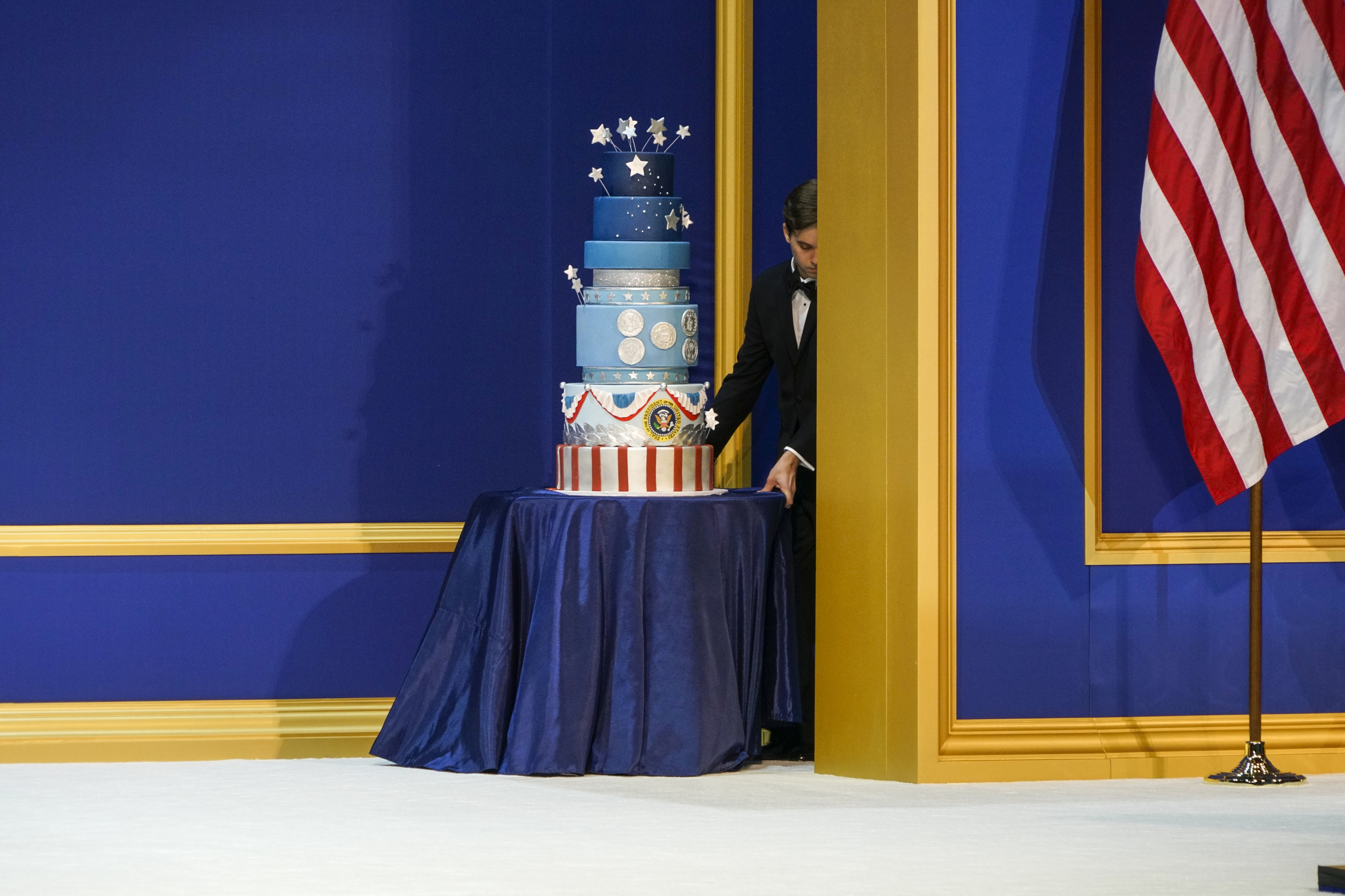 A cake at the Presidential Inaugural Salute to our Armed Services Ball at the National Building Museum in Washington, D.C., on Friday, Jan. 20, 2017.