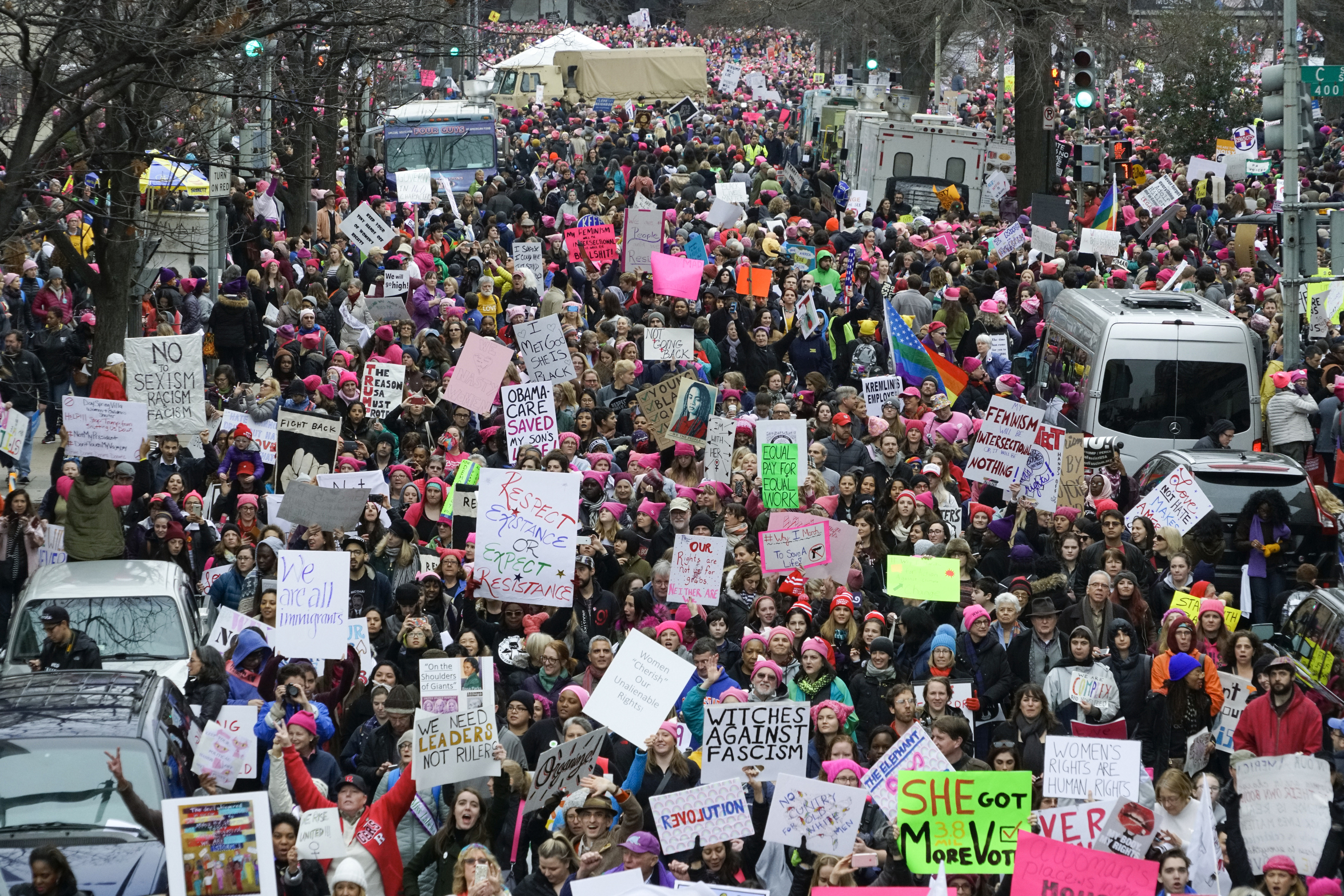 Protestors filling the streets at the Women's March on Washington, the day after the inauguration of Donald Trump as the 45th President of the United States in Washington, D.C., on Friday, Jan. 21, 2017.