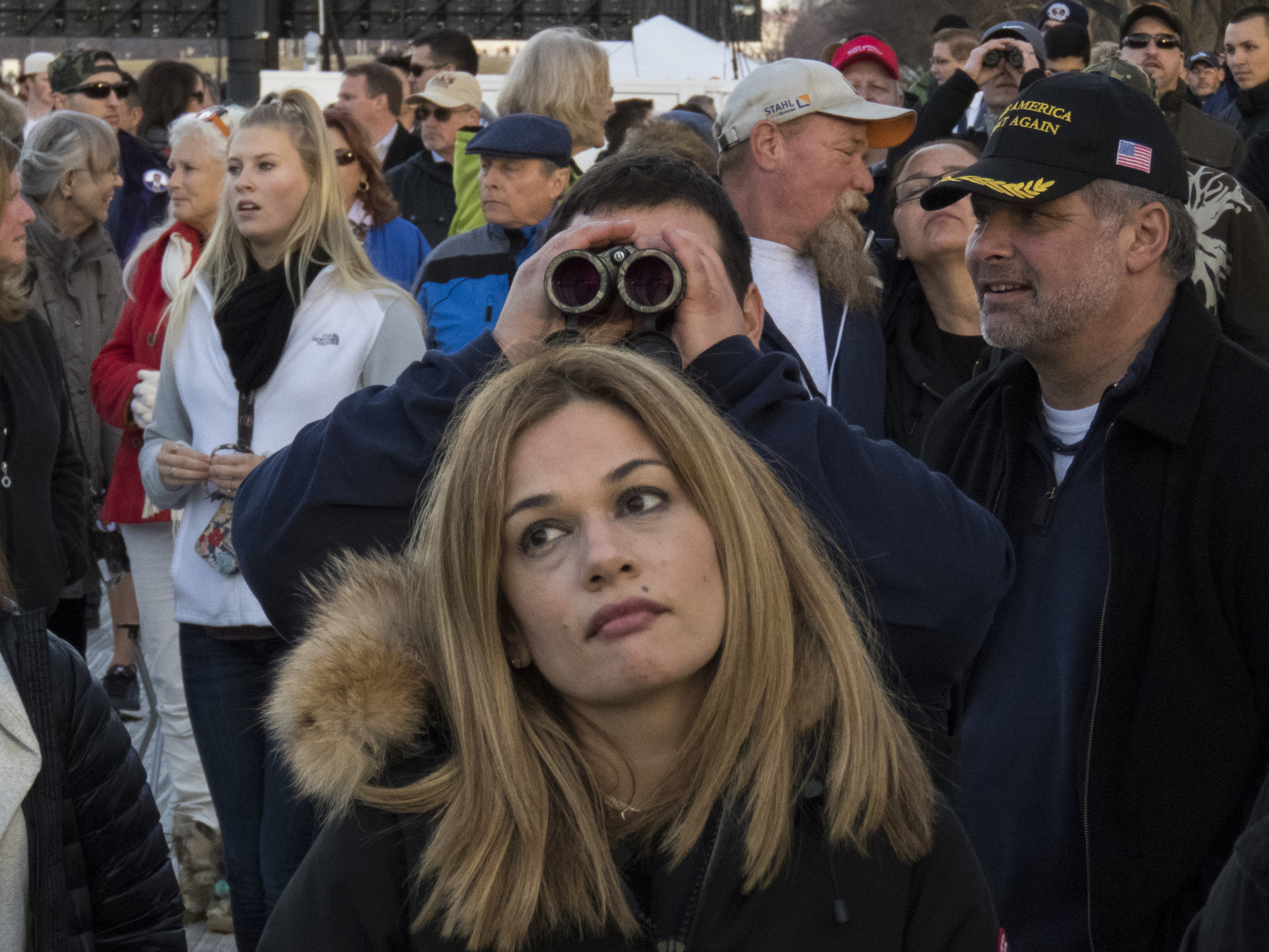 Attendees at the Voices of the People: Make America Great Again Welcome Concert at the Lincoln Memorial in Washington, D.C., on Thursday, Jan. 19, 2017.
