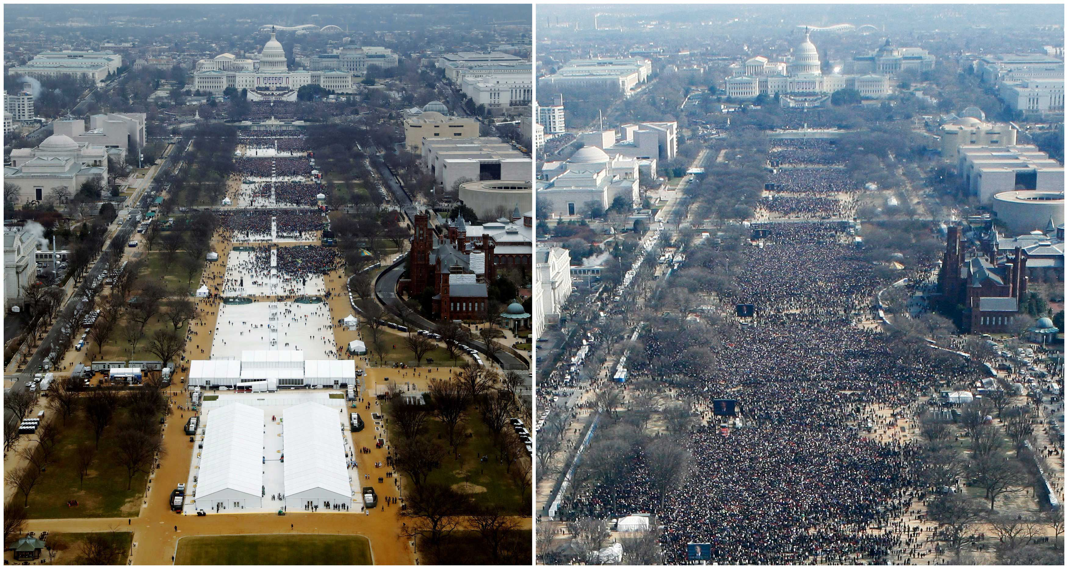 A combination of photos taken at the National Mall shows the crowds attending the inauguration ceremonies to swear in U.S. President Donald Trump at 12:01pm (L) on Jan. 20, 2017 and President Barack Obama sometime between 12:07pm and 12:26pm on Jan. 20, 2009, in Washington, D.C.