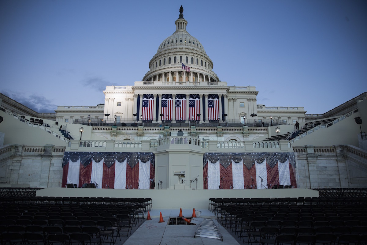 Preparations on the West Front of the U.S. Capitol near completion just days before the 58th Inauguration Ceremony where President-elect Donald Trump will be sworn into office in Washington, D.C., on Jan. 18, 2017.
