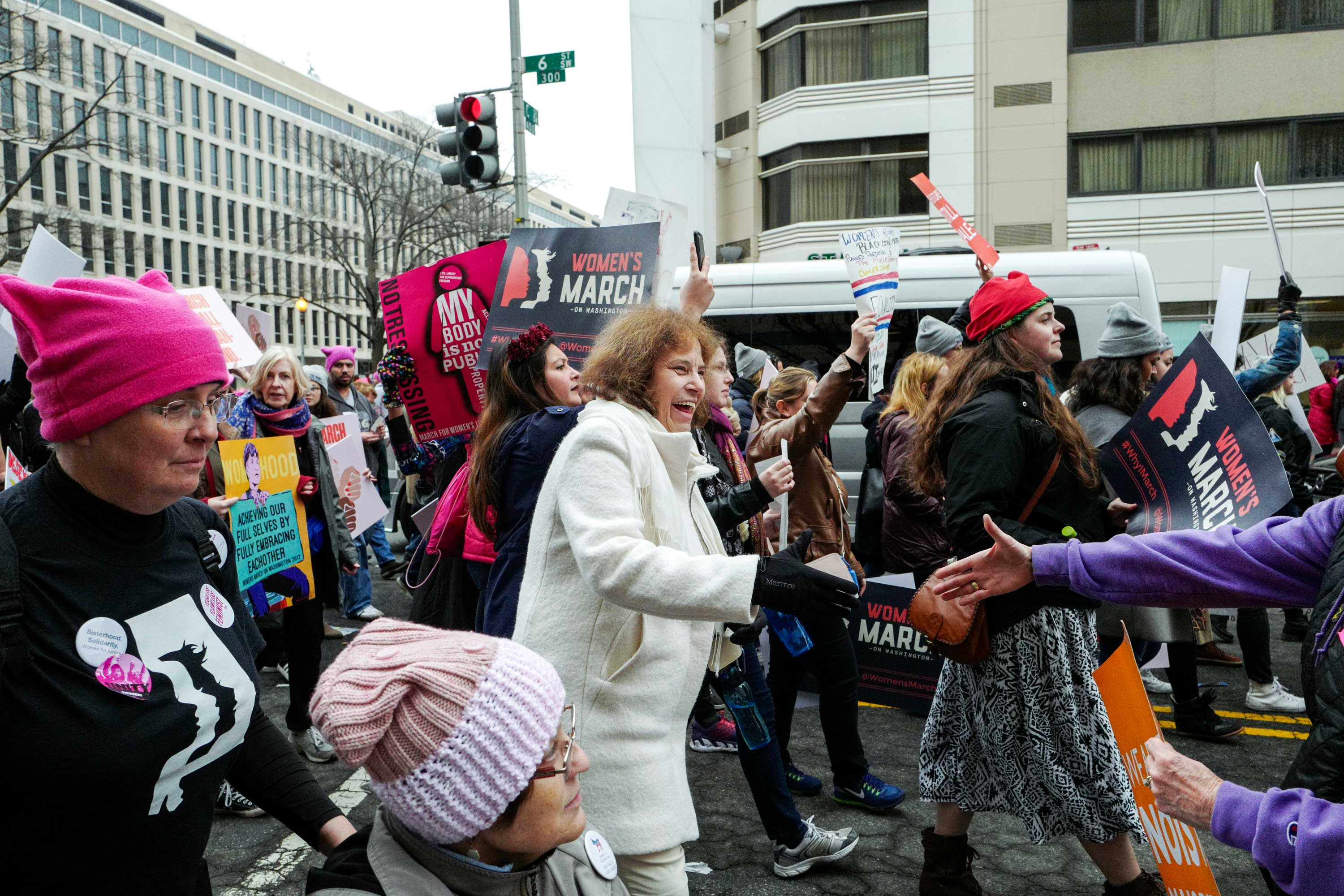 Jan Rose Kasmir, 67, was the subject of a famous photograph by Mark Riboud taken at an anti-Vietnam War rally in 1967.  She has remained active in progressive politics and marched at the Women's March the day after Donald Trump's inauguration. Jan. 21, 2017.