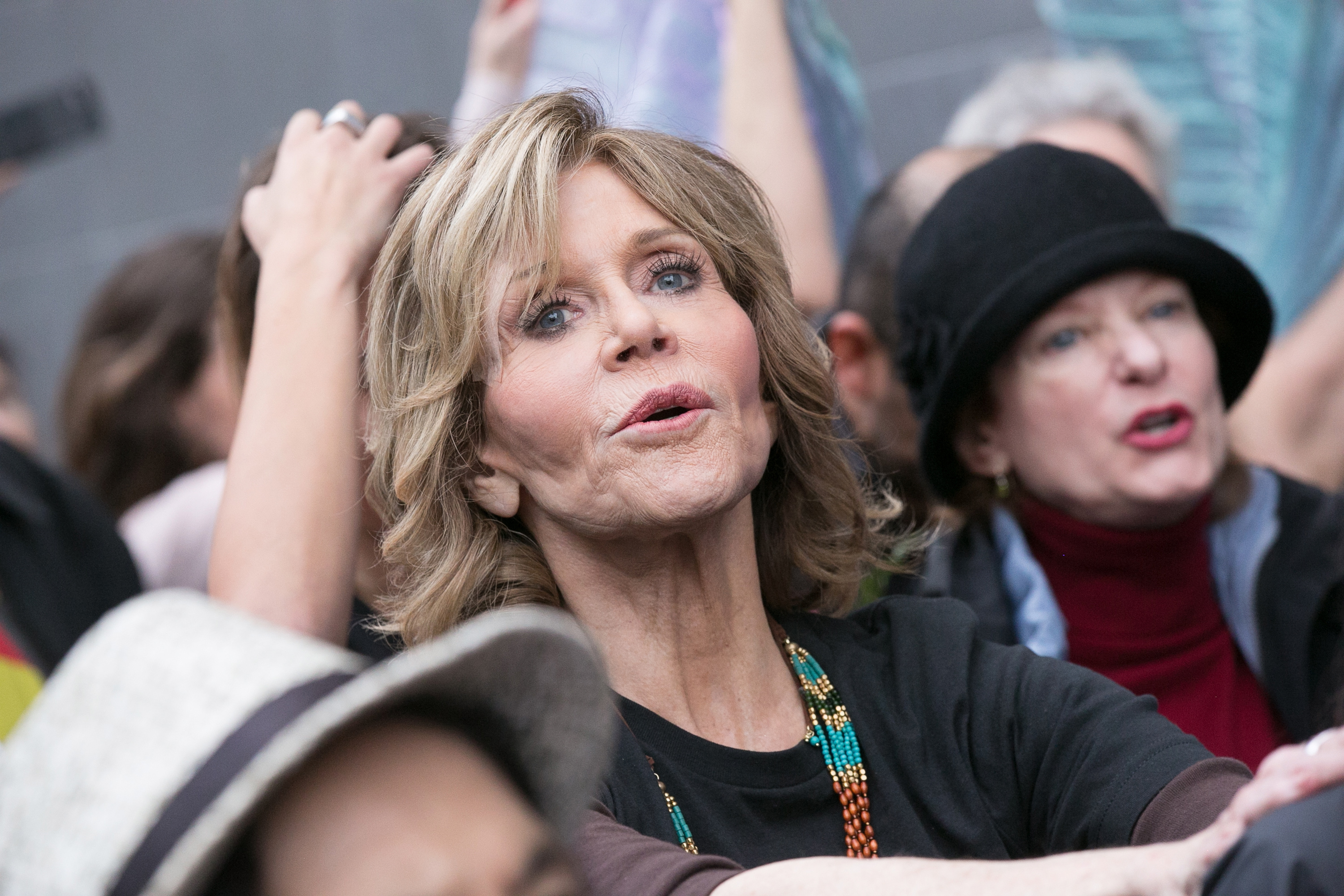 Jane Fonda attends the #BankExit Rally  in Los Angeles on Dec. 21.
