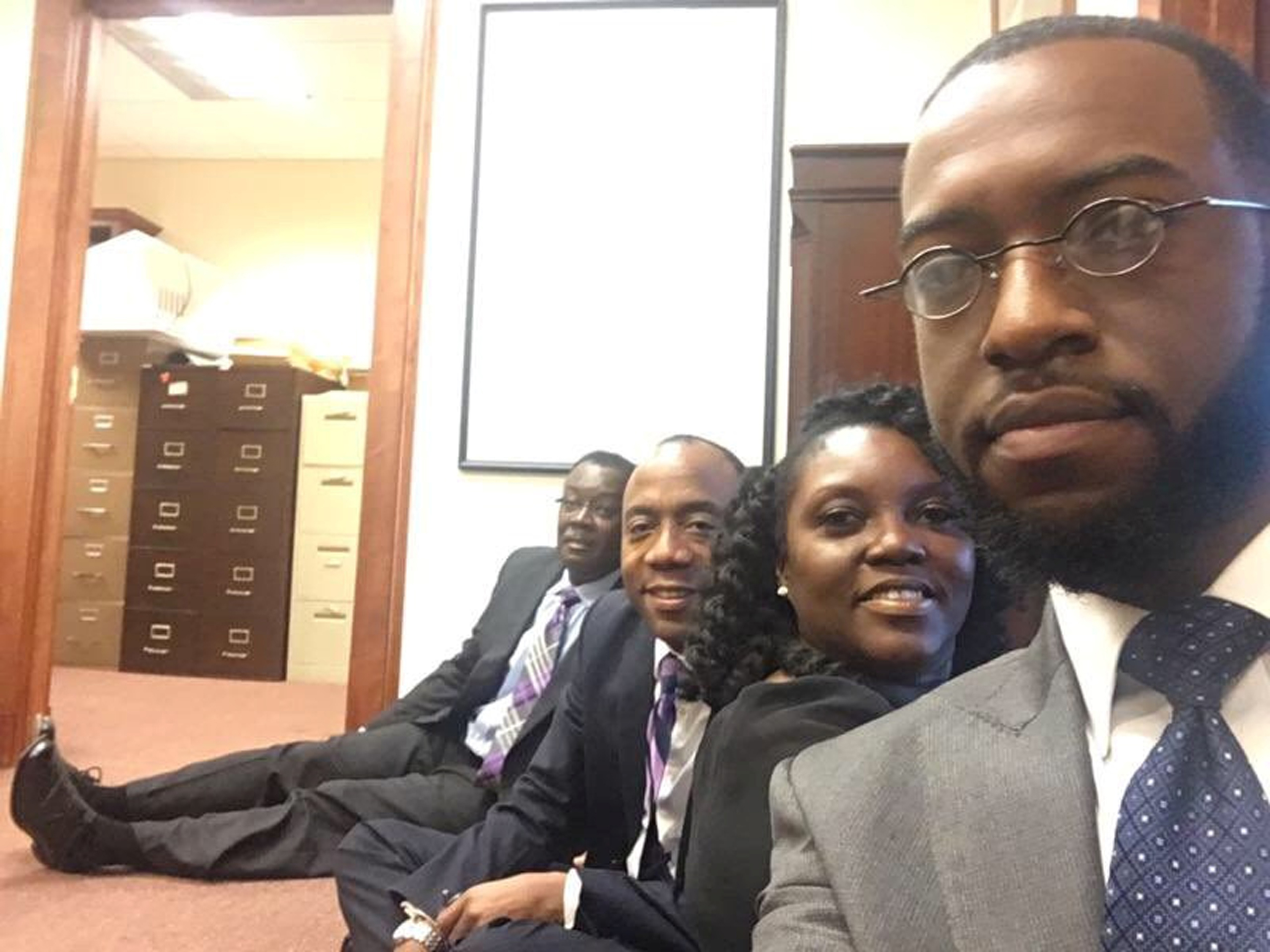 At the N.A.A.C.P. sit-in in the Mobile, Ala., office of Senator Jeff Sessions on Tuesday were members including Benard Simelton, left, the president of the group's Alabama State Conference, and Cornell William Brooks, second from left, its national president.