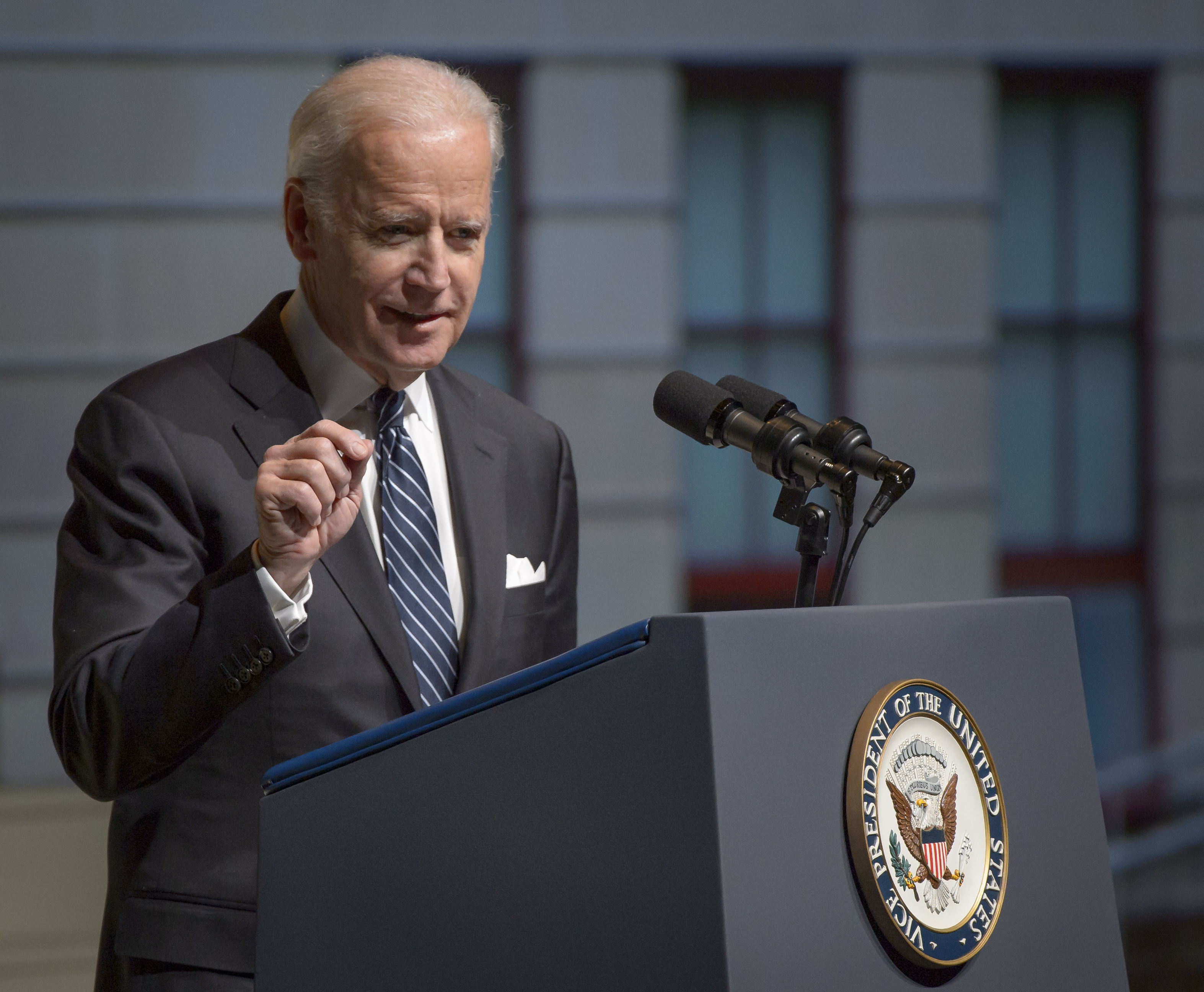 Vice President Joe Biden speaks during a service celebrating the life of former astronaut and U.S. Senator John Glenn on Dec. 17, 2016 in Columbus, Ohio.