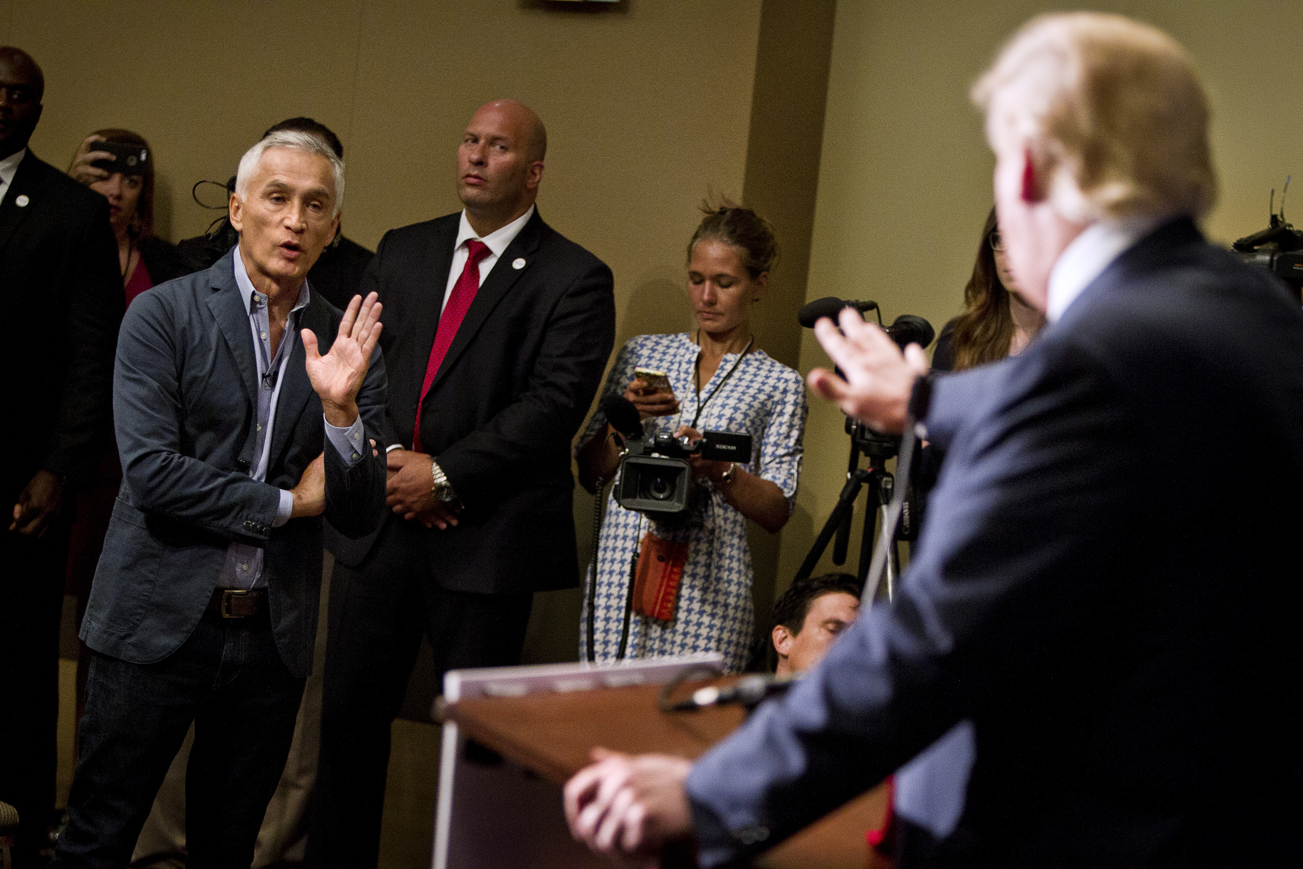 Jorge Ramos spars with then-Presidential candidate Donald Trump before his  Make America Great Again Rally  at the Grand River Center in Dubuque, Iowa, on Aug. 25, 2015.