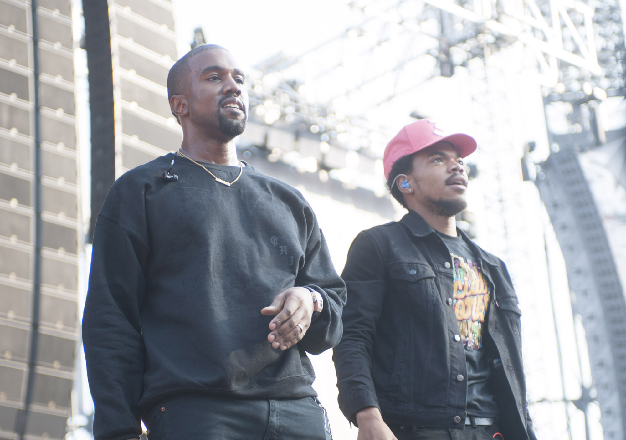 Kanye West and Chance the Rapper at the Magnificent Coloring Day Festival at Comiskey Park in Chicago, Illinois, September 24, 2016 . (Photo by Paul Natkin/Getty Images)