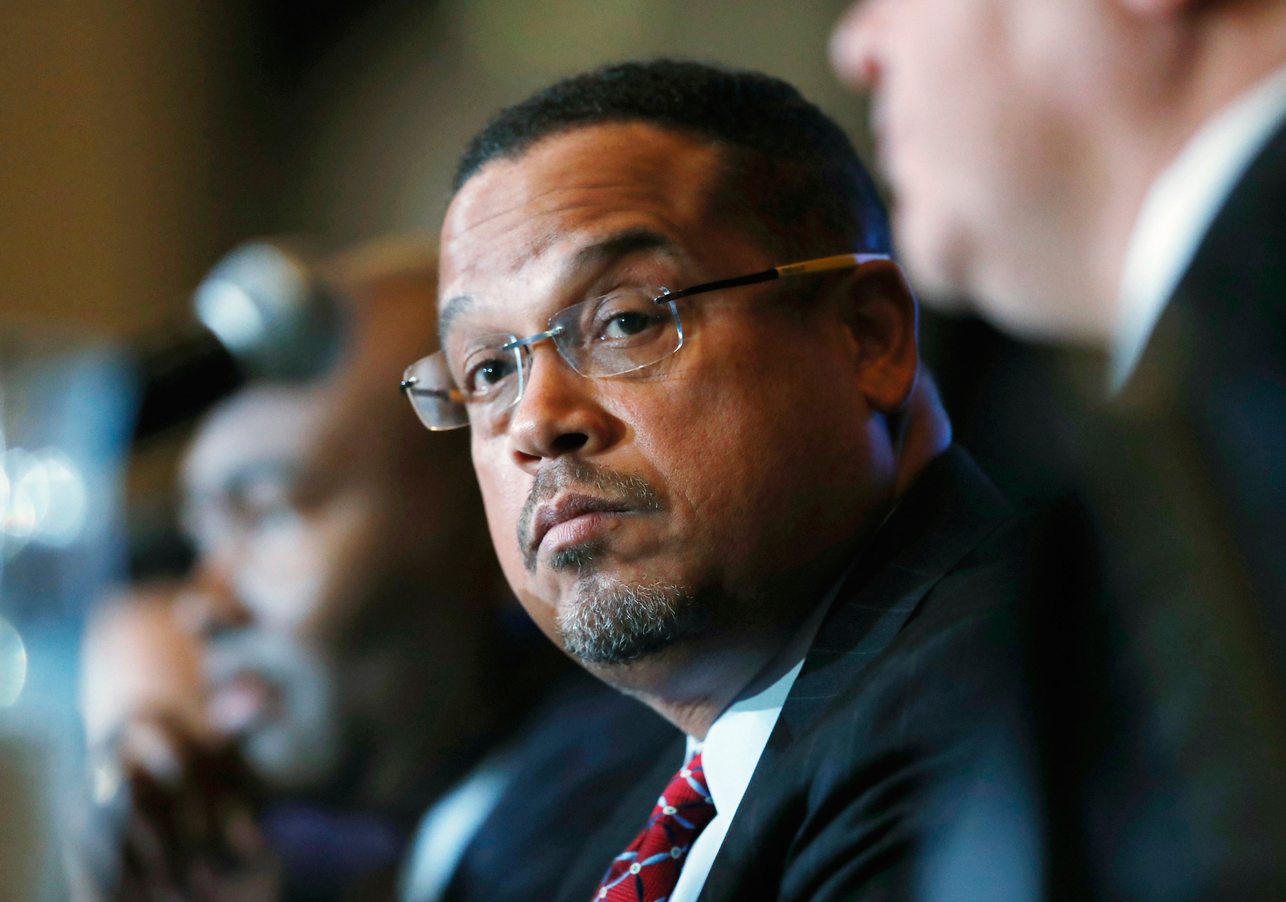 Rep. Keith Ellison listens during a forum on the future of the Democratic Party in Denver on Dec. 2, 2016.