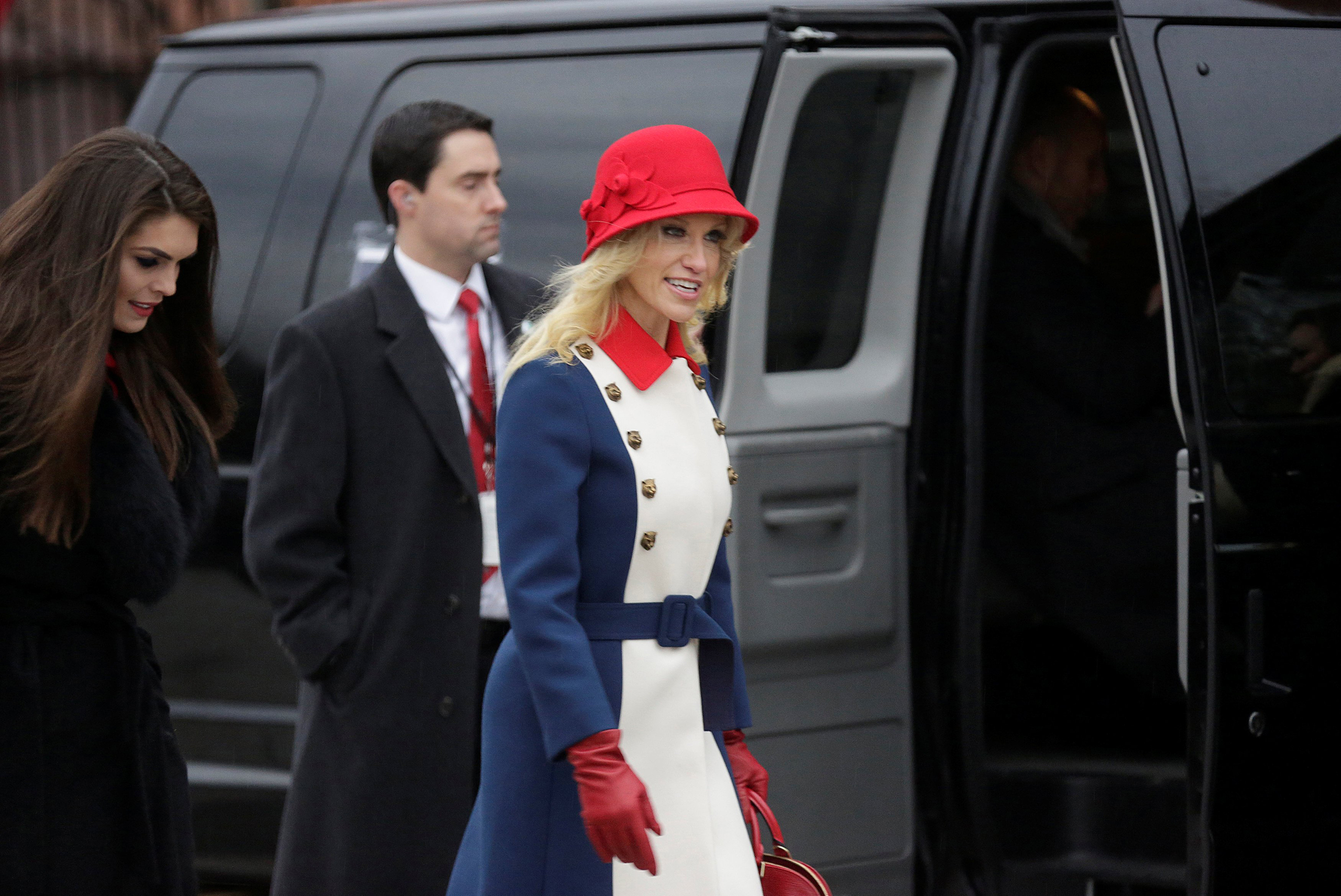 Kellyanne Conway, advisor to U.S. President-elect Donald Trump, departs for a church service before the 58th Presidential Inauguration in Washington, on Jan. 20, 2017.