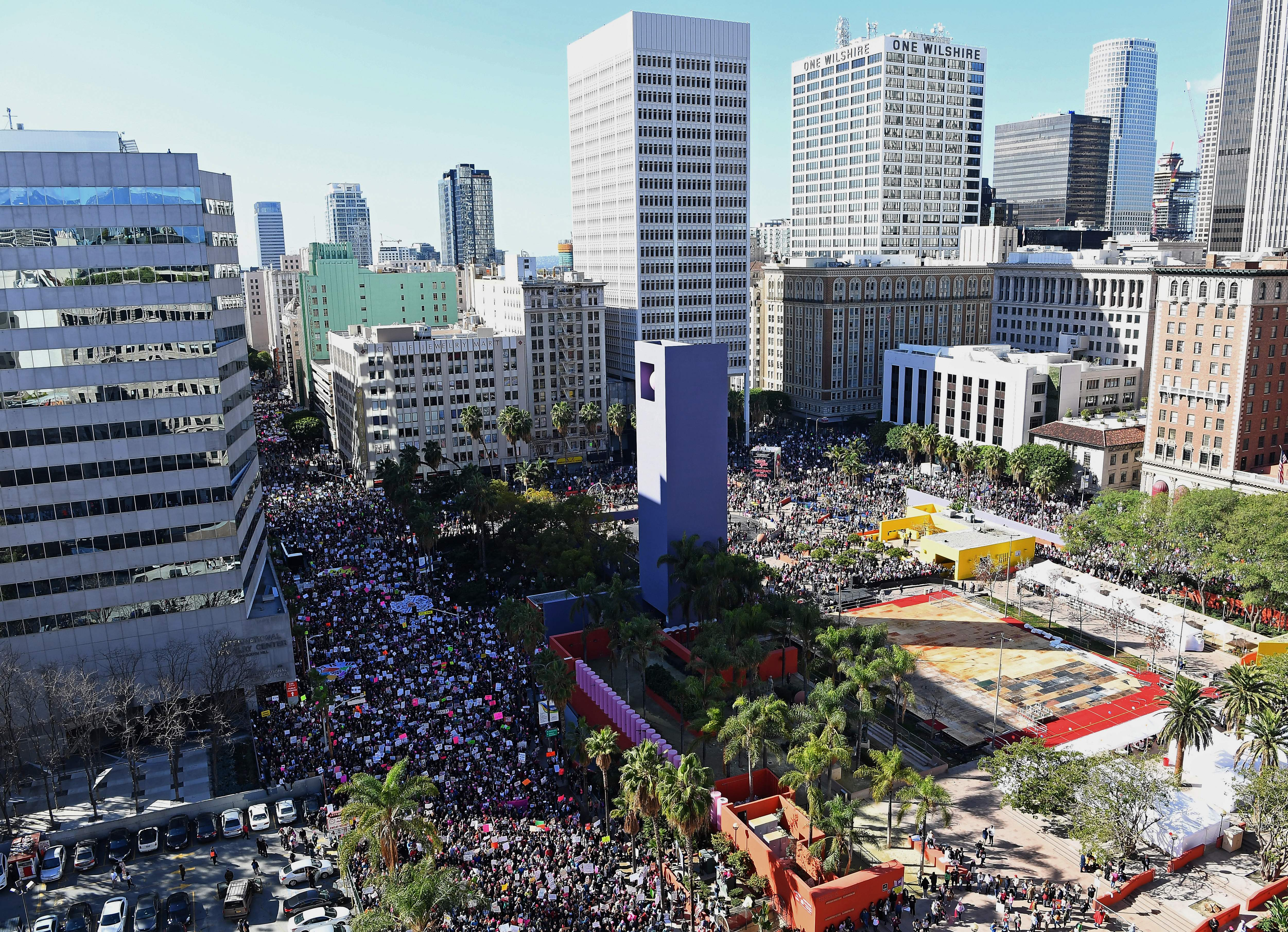 Protesters march in Los Angeles during the Women's March on Jan. 21, 2017.