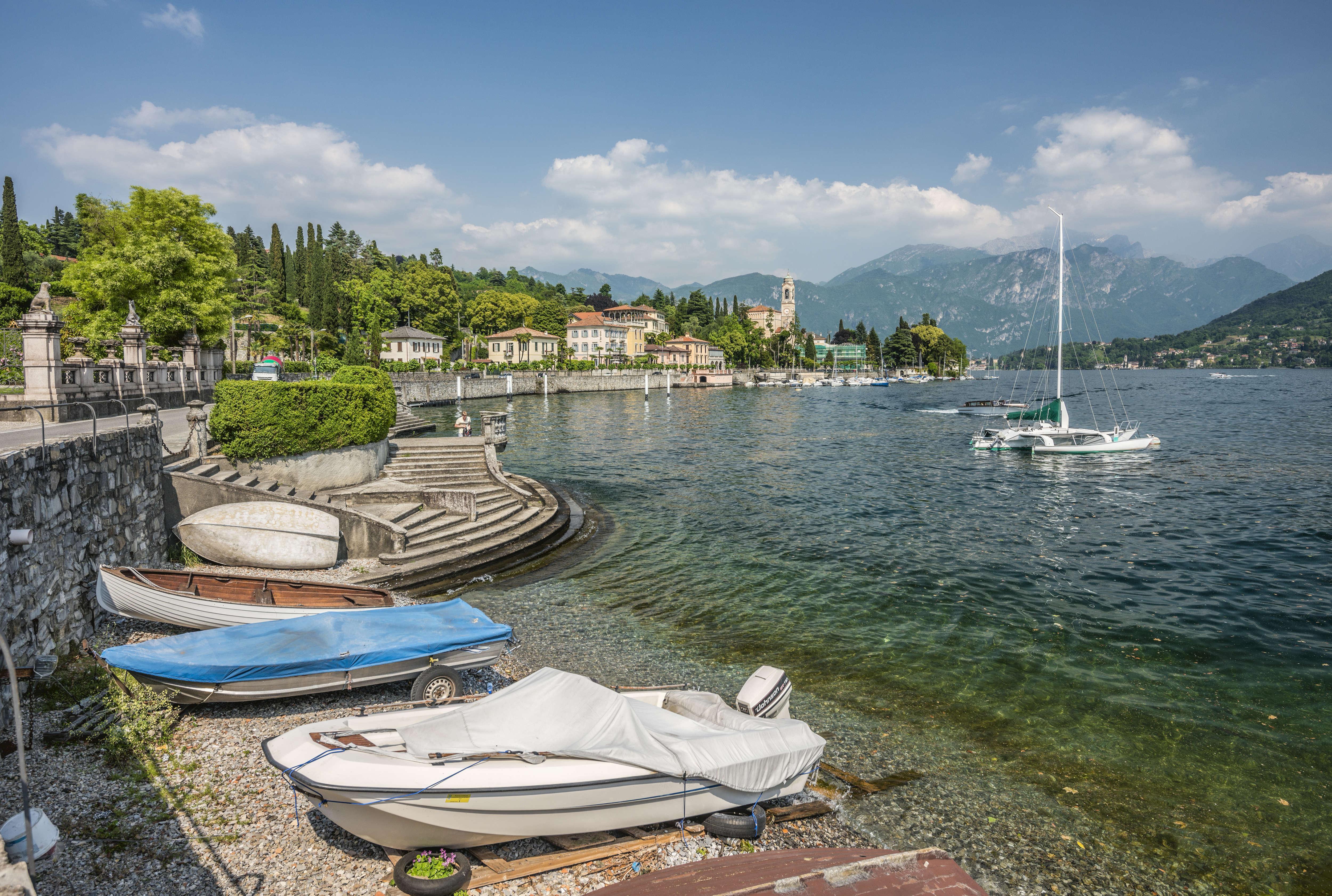 View at the waterfront of Lenno at Lake Como.