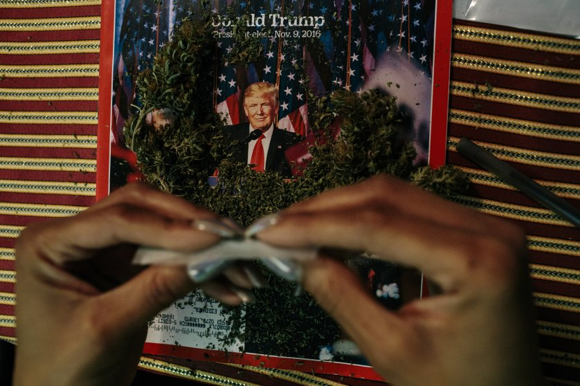 An activist from the cannabis community DCMJ rolls a joint in a Washington, D.C., home on Jan. 16 in preparation for President-Elect Donald Trump's inauguration. A cofounder of the group said TIME magazines were used after learning a photographer on assignment for TIME would observe their operations. Other newspapers and magazines, like High Times, have previously been used when the group has been photographed by other media.