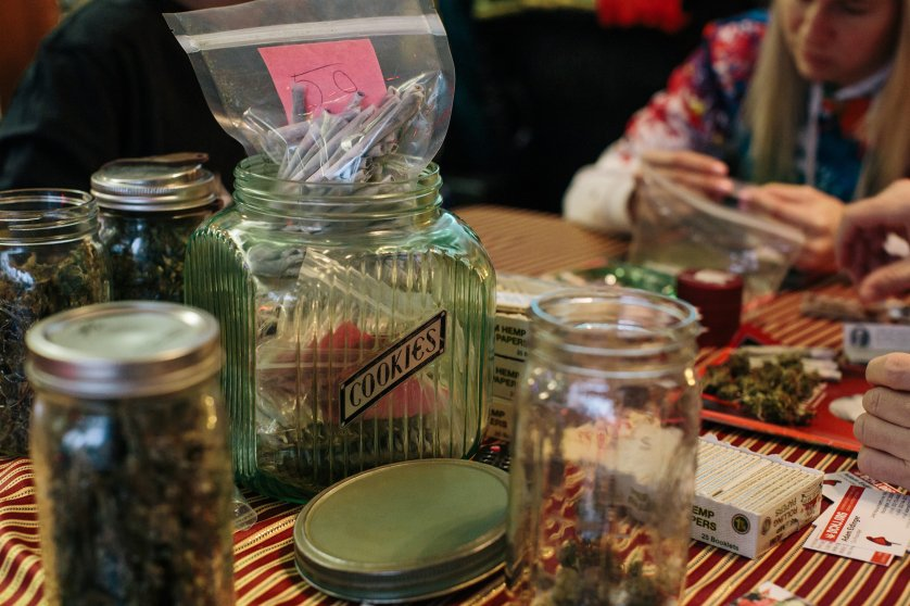 A jar of joints is filled on a table as activists from the cannabis community DCMJ roll more in a Washington, D.C., home on Jan. 16 in preparation for President-Elect Donald Trump's inauguration.