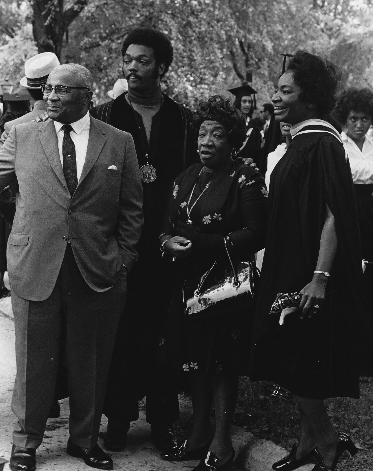 Martin Luther King Sr.; Jesse Jackson; Alberta Williams King; and Christine King Farris at her Spelman College commencement.
