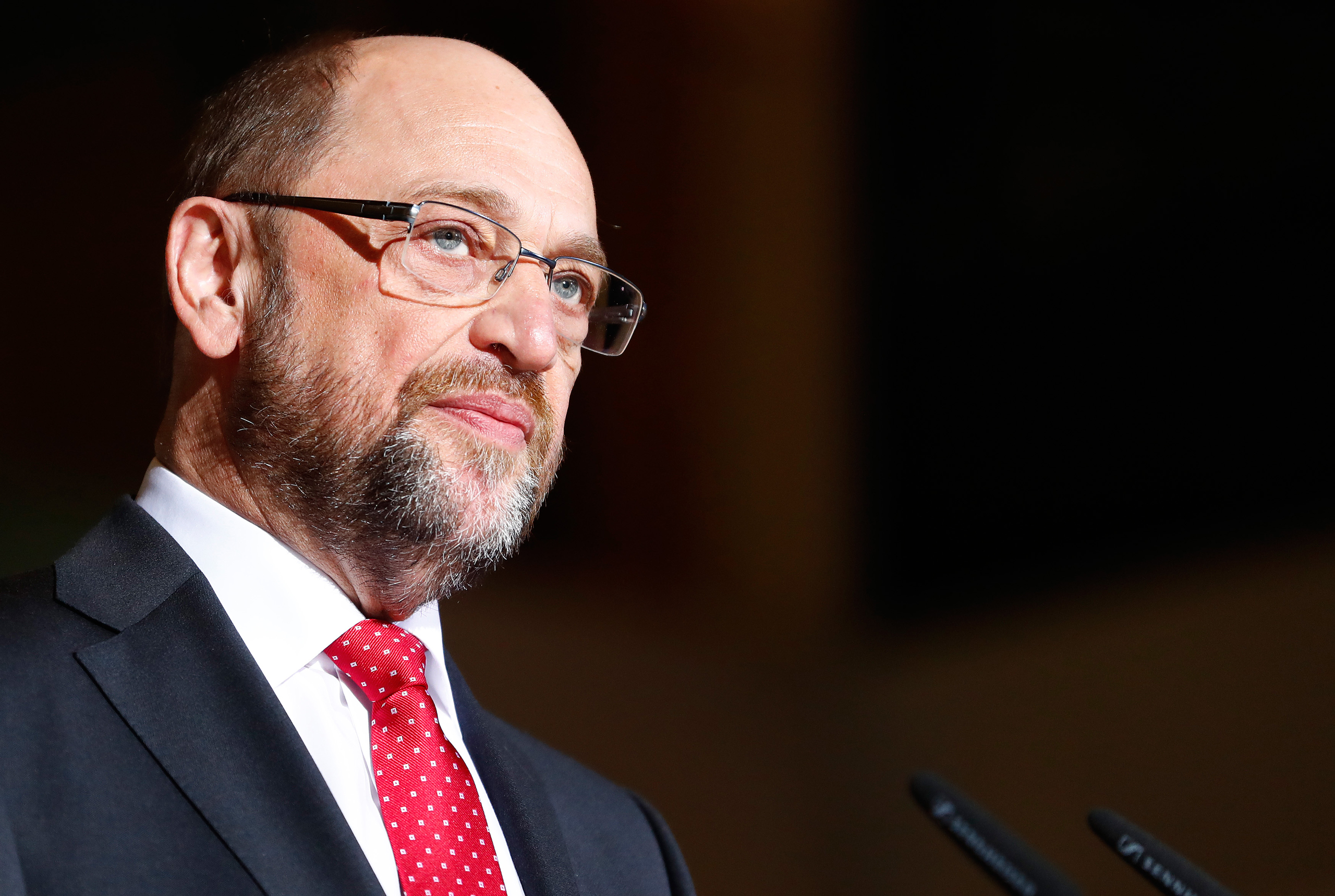 Martin Schulz, former president of the European Parliament, looks on during a news conference in Berlin on Jan. 24, 2017.