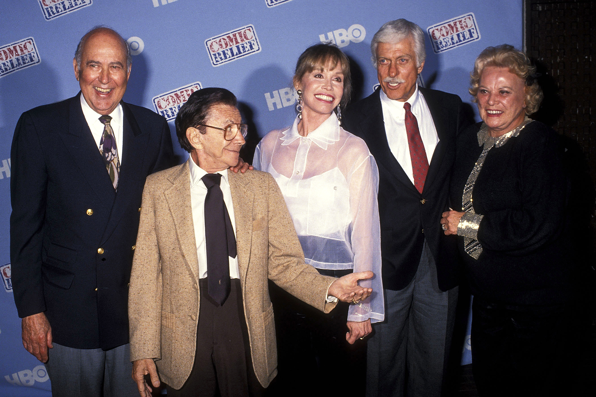 From left: Carl Reiner, Morey Amsterdam, Mary Tyler Moore, Dick Van Dyke and Rose Marie, on May 16, 1992  in Universal City, Calif.