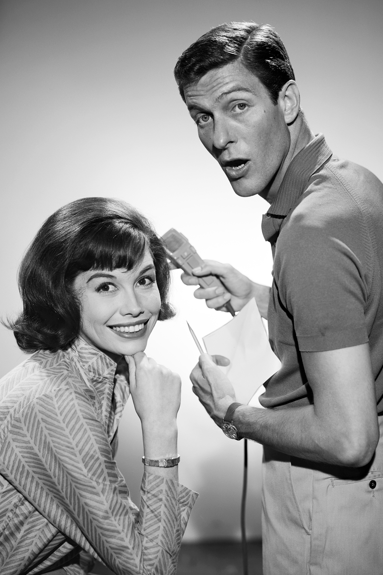 Mary Tyler Moore and Dick Van Dyke during promo photos for The Dick Van Dyke Show, on April 21, 1961.