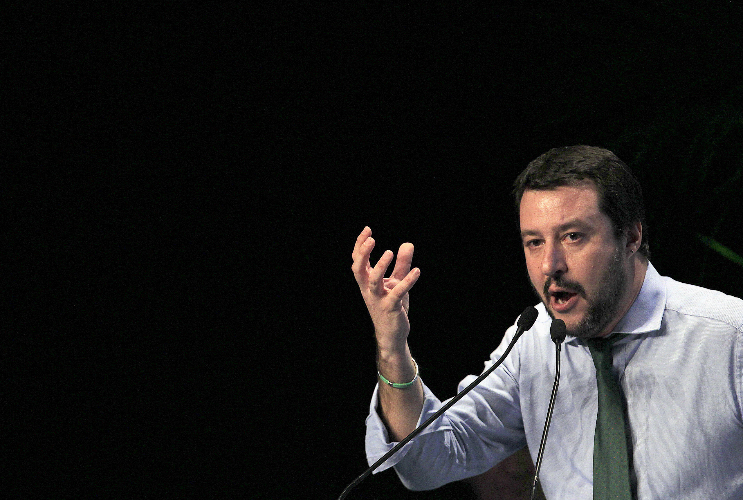 Northern League leader Matteo Salvini gestures during the  Europe of Nations and Freedom  meeting in Milan on Jan. 28, 2016.