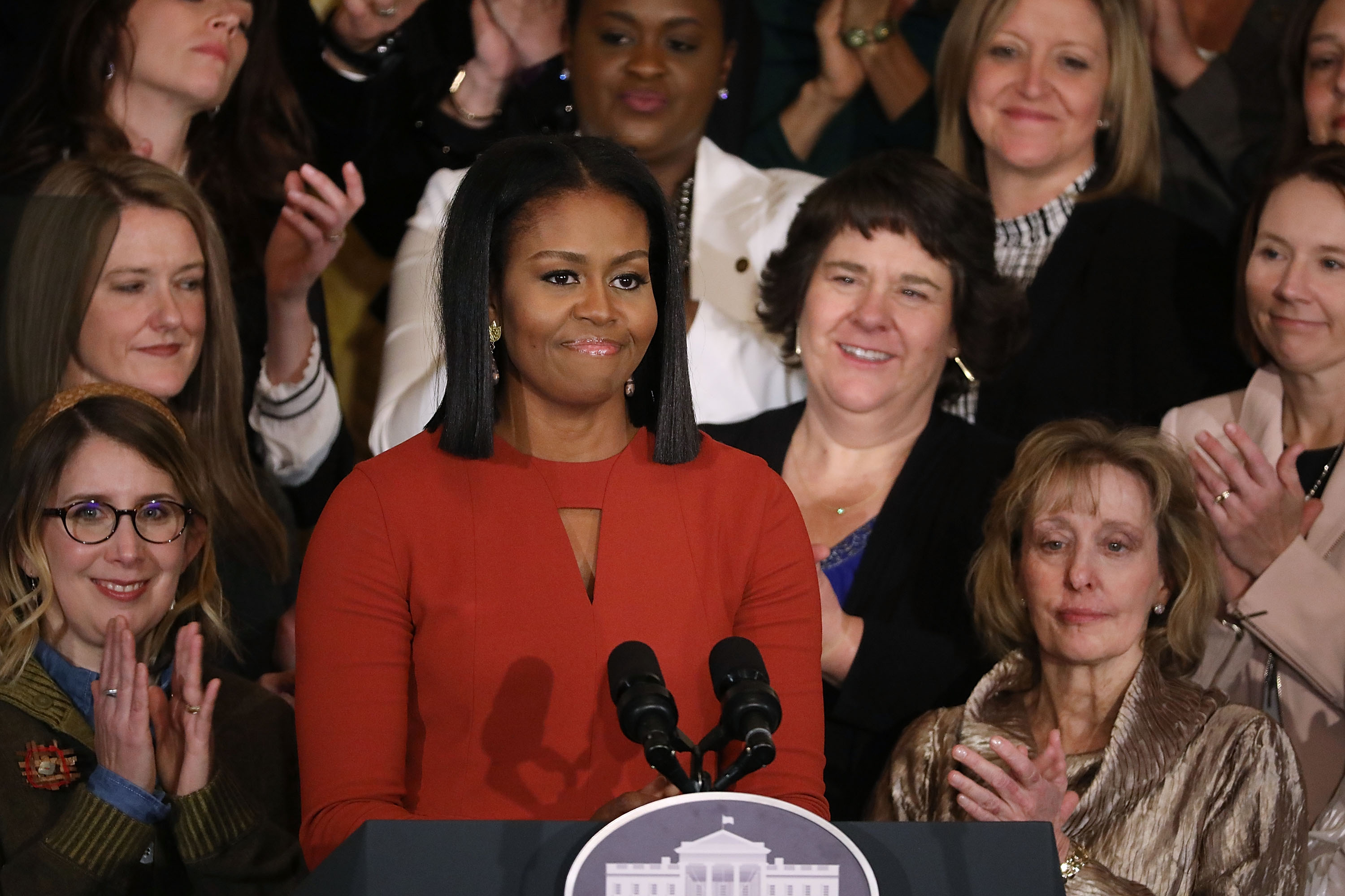 First lady Michelle Obama delivers remarks during a ceremony honoring the 2017 School Counselor of the Year in the East Room of the White House on Jan. 6, 2017.