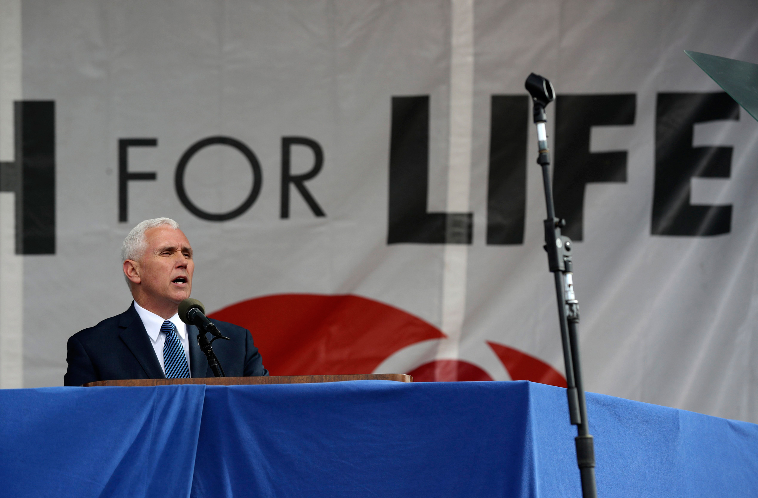 Vice President Mike Pence speaks at the March for Life on the National Mall in Washington on Jan. 27, 2017.