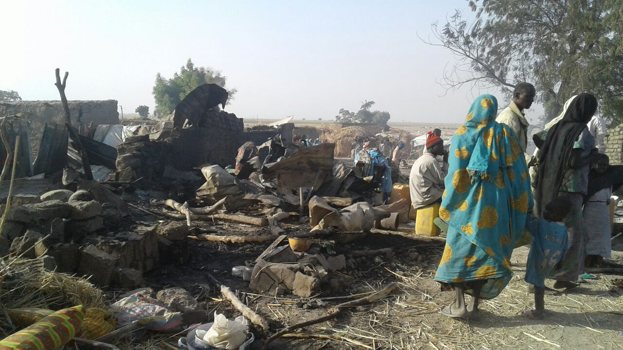 The aftermath of an aerial bombing at a camp for internally displaced people in Rann, Nigeria, on Jan. 17.