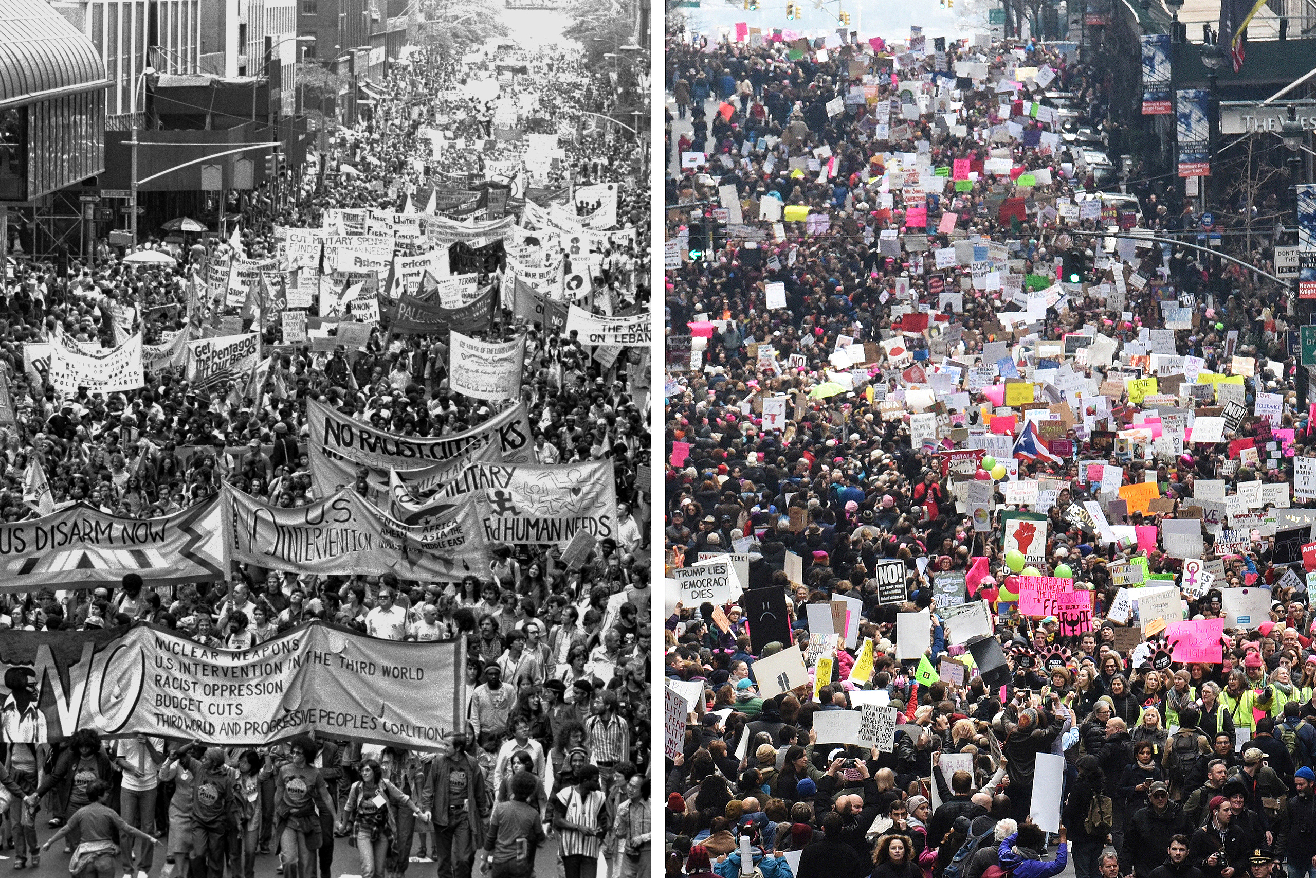 Left: Anti-nuke demonstration on 42nd St. in New York City on June 12, 1982; Right: Women's March on 42nd St. in New York City on Jan. 21, 2017.