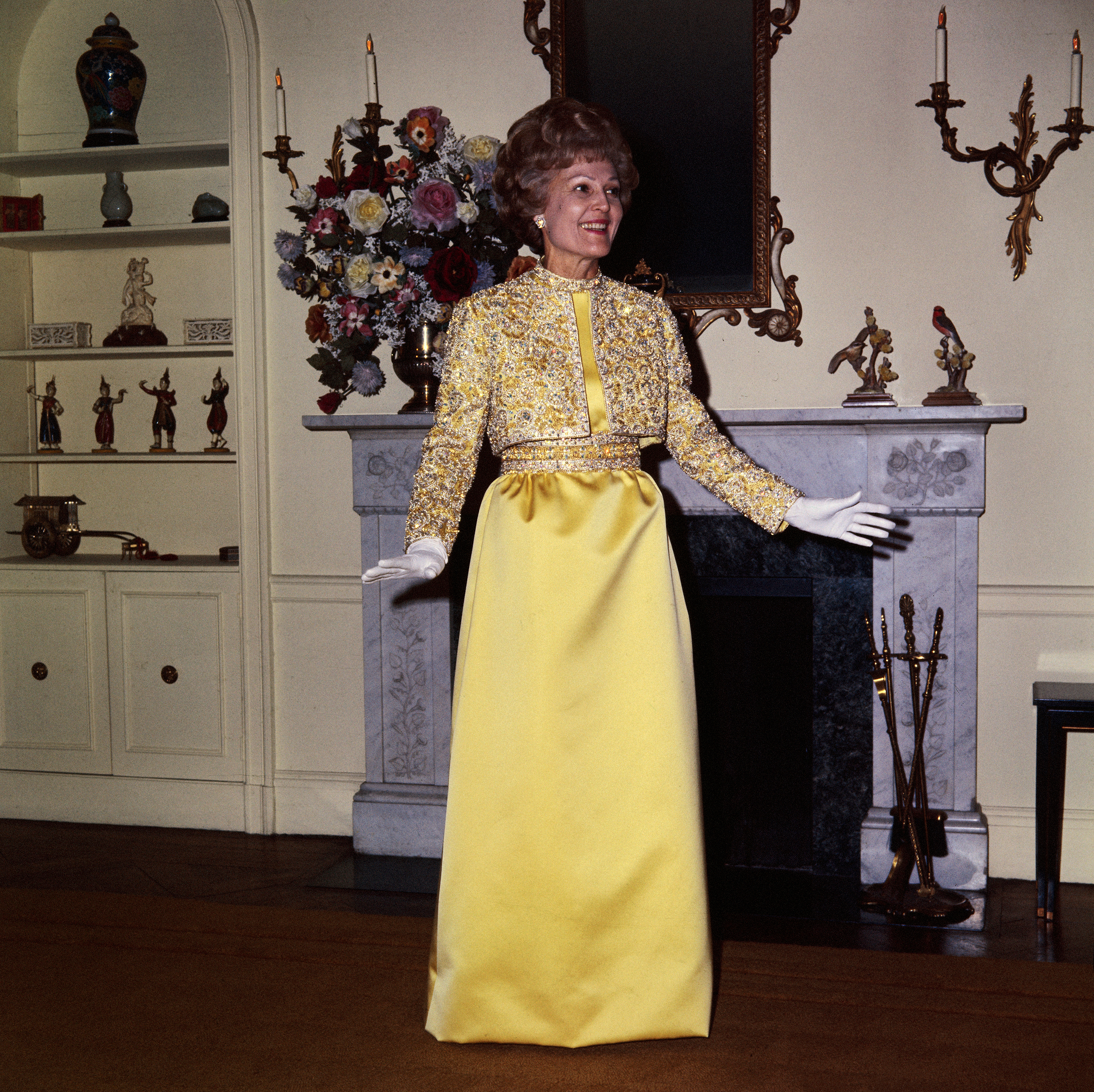 Pat Nixon, Karen Stark for Harvey Berin, 1969: This gold and silver embroidered gown was encrusted with Austrian crystals.