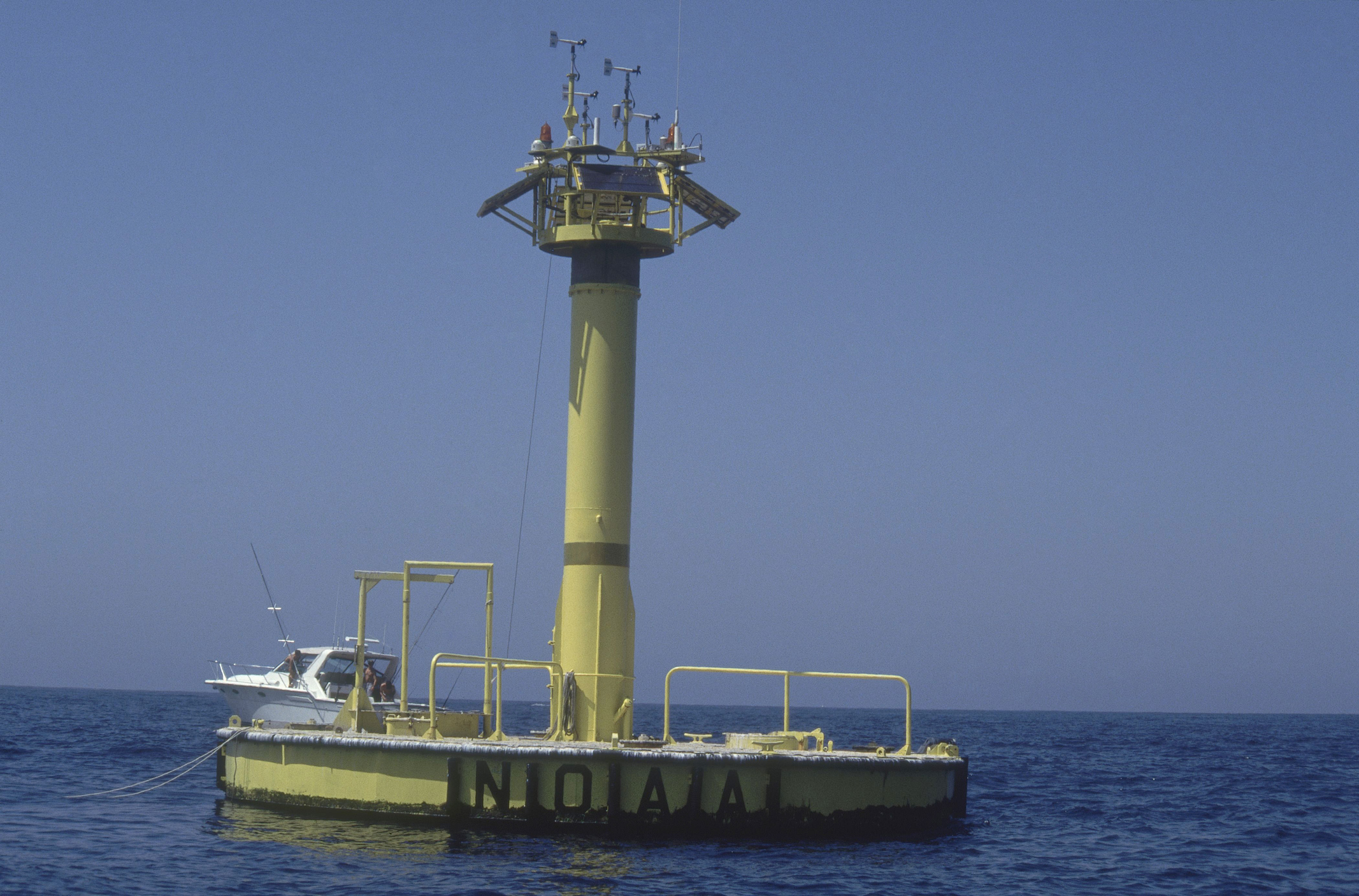 A NOAA buoy floats 30 miles off the coast of California near San Diego. NOAA maintains a network of buoys, tidal stations and satellite measurements that provide a continuous picture of the state of the ocean and Great Lakes.