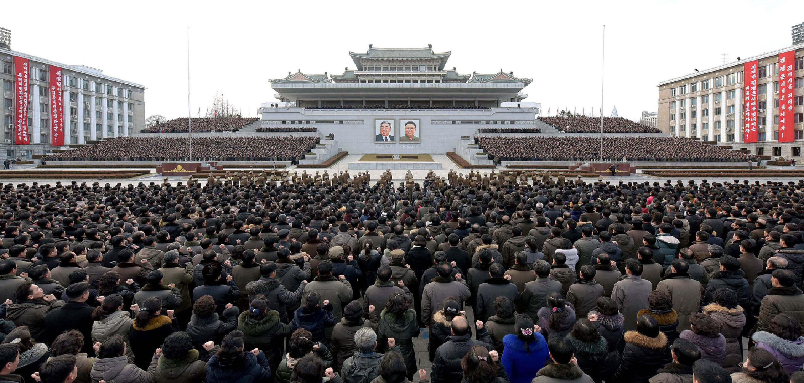 This picture taken on January 5, 2017 and released by North Korea's official Korean Central News Agency (KCNA) on January 6, 2017 shows a mass rally taking place at Kim Il Sung Square in Pyongyang.