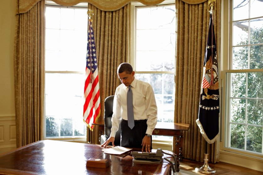 First Oval Office picture of President Barack Obama, on Jan. 21, 2009.