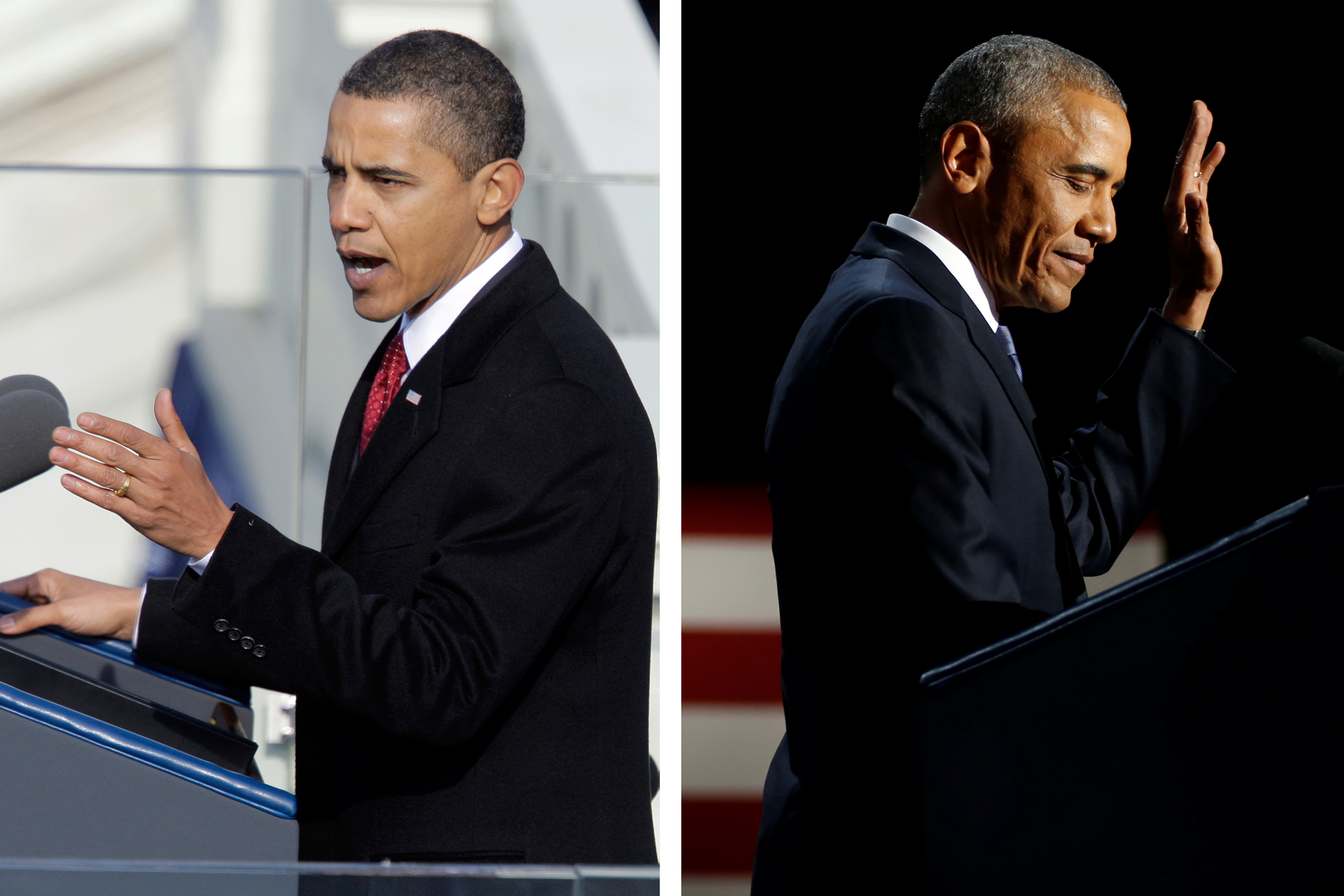 Left: President Barack Obama delivers his inaugural address at the U.S. Capitol in Washington on Jan. 20, 2009; Right: President Barack Obama delivers his farewell address in Chicago on Jan.10, 2017.