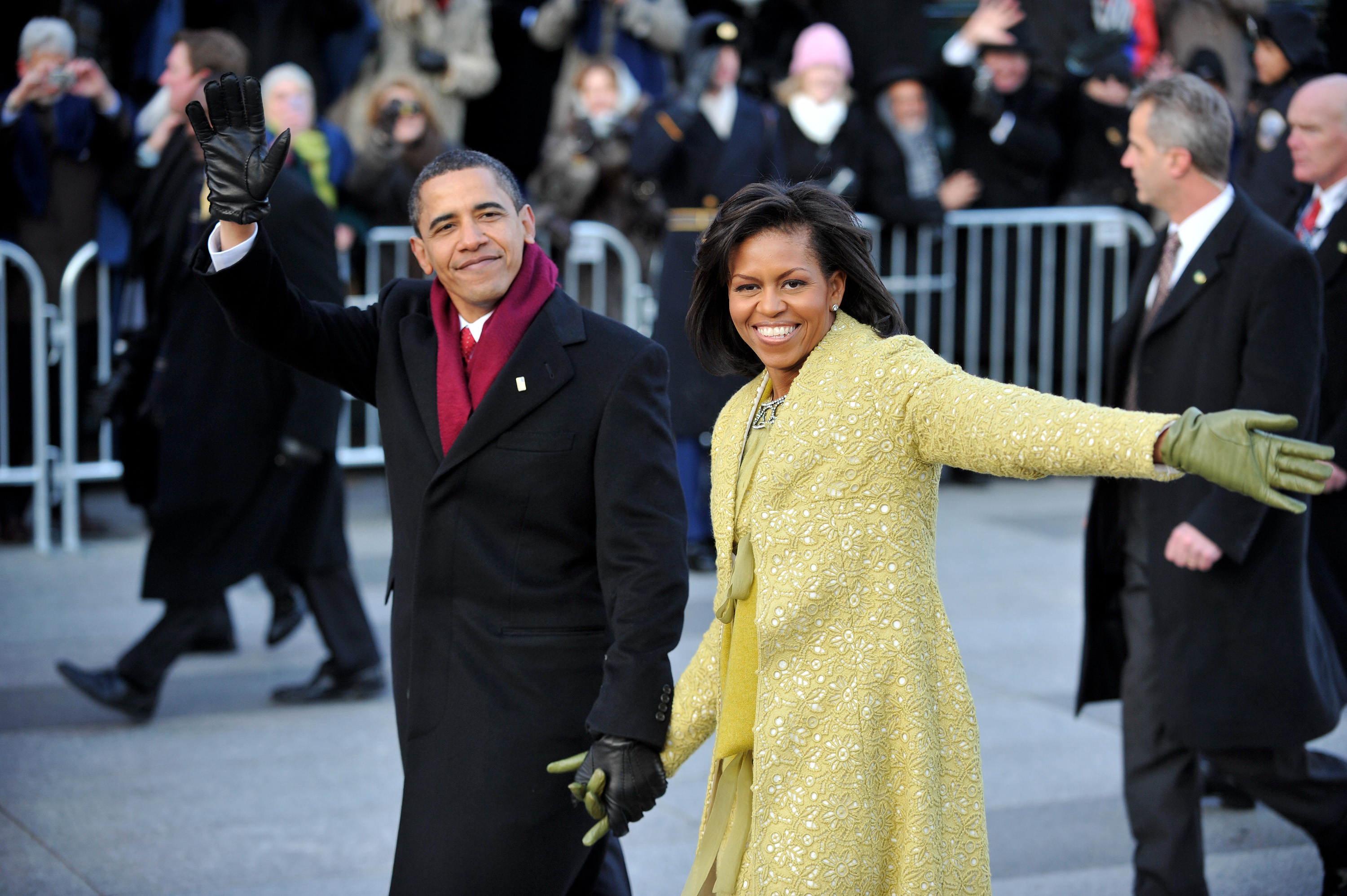 President Obama and first lady Michelle Obama walk in the Inaugural Parade on Jan. 20, 2009 in Washington, DC.