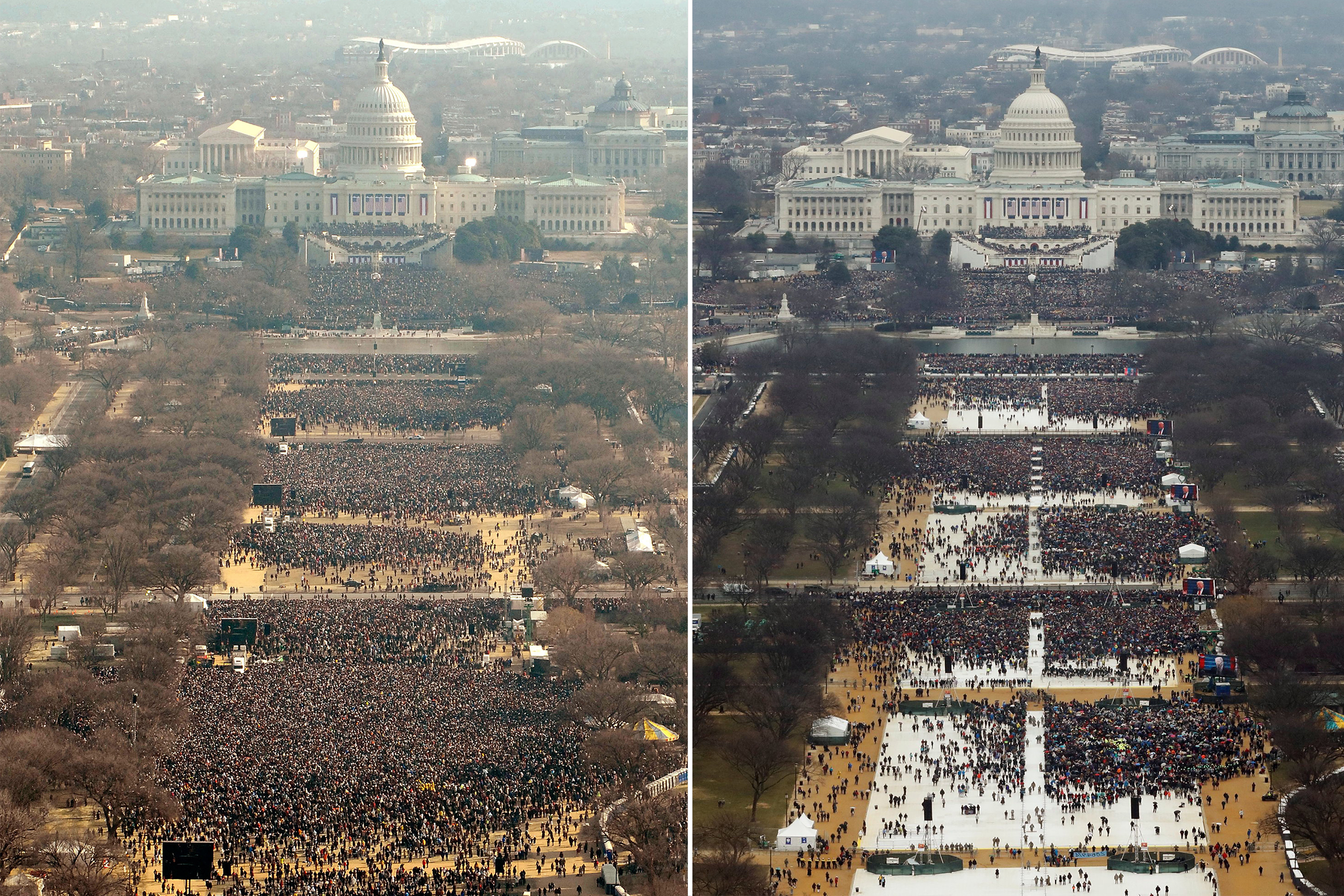 A composite image shows the inauguration crows for Barack Obama in 2009, left, and Donald Trump in 2017.