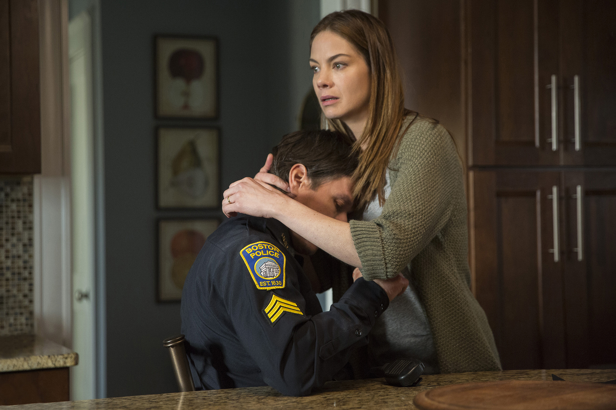 Michelle Monaghan and Mark Wahlberg in Patriots Day.
