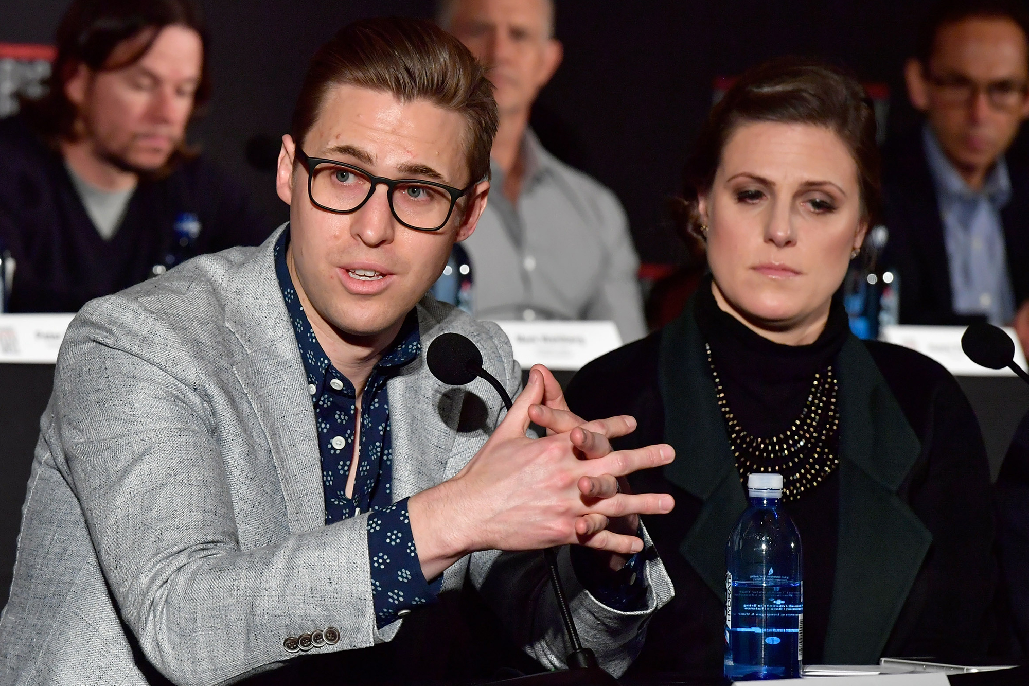 Patrick Downes and Jessica Kensky at a press conference, on Dec. 15, 2016 in Boston.