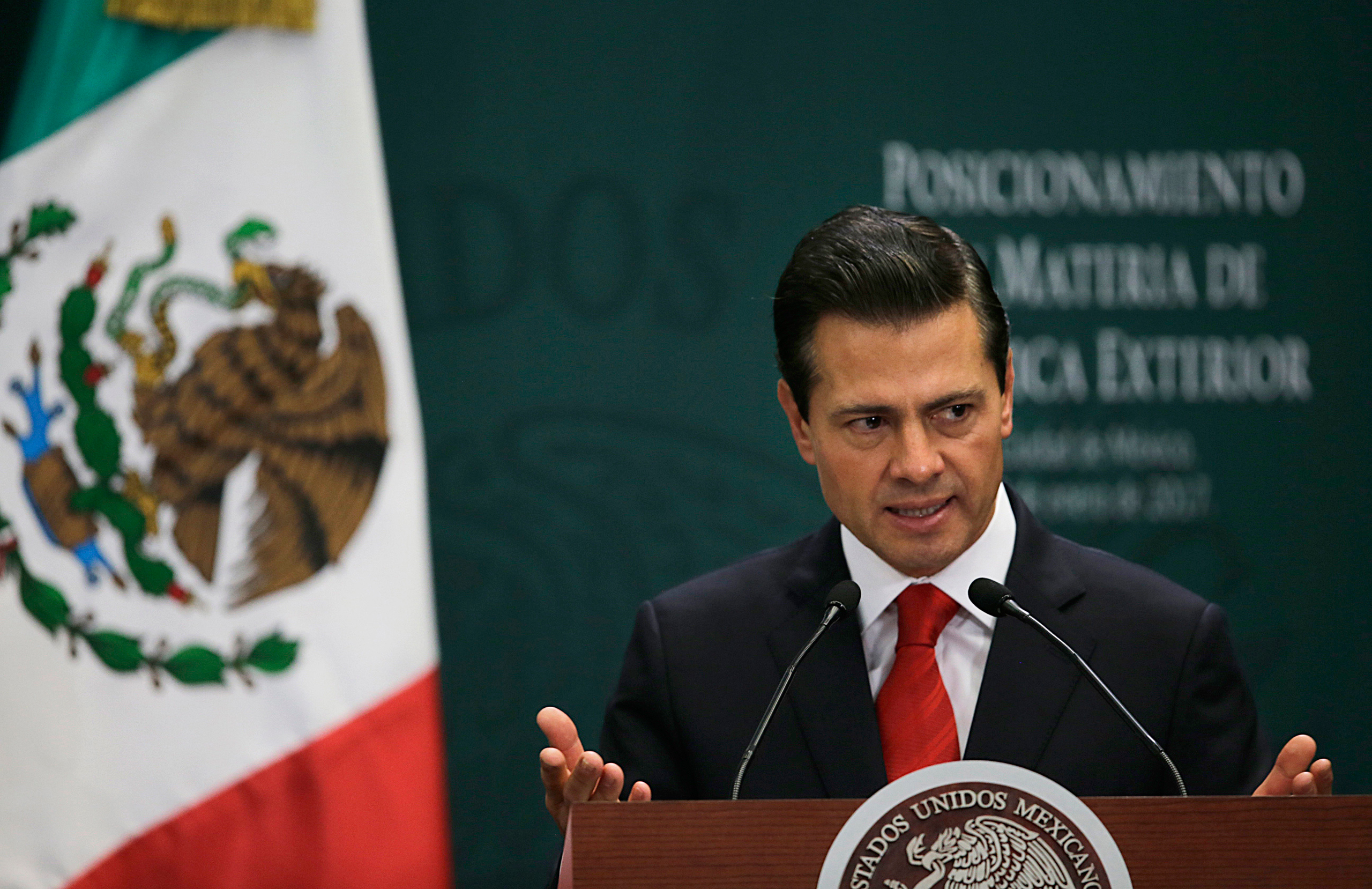 Mexico's President Enrique Pena Nieto speaks during a press conference at Los Pinos presidential residence in Mexico City on Jan. 23, 2017.
