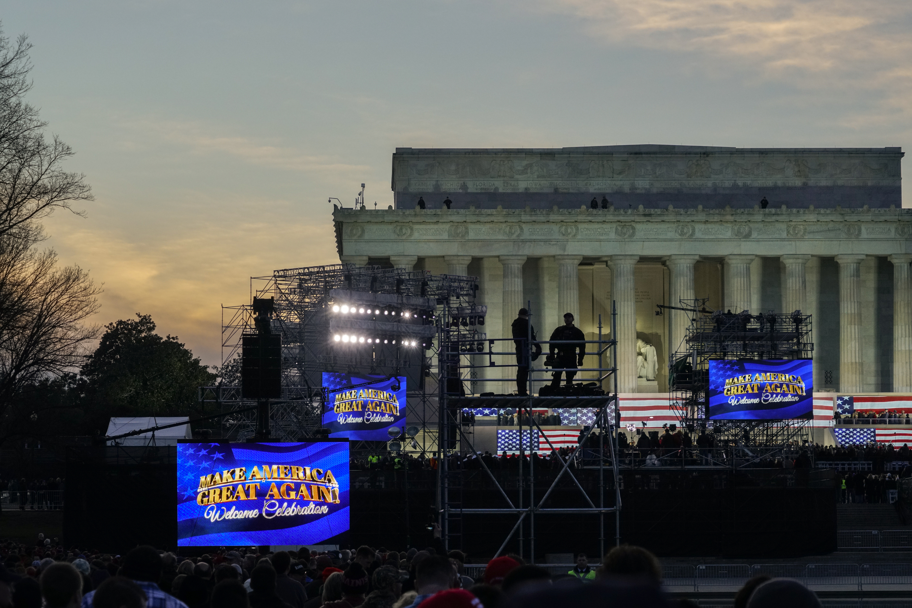 A view of the setup at the  Voices of the People: Make America Great Again Welcome Concert  in front of the Lincoln Memorial on Jan. 19, 2017.