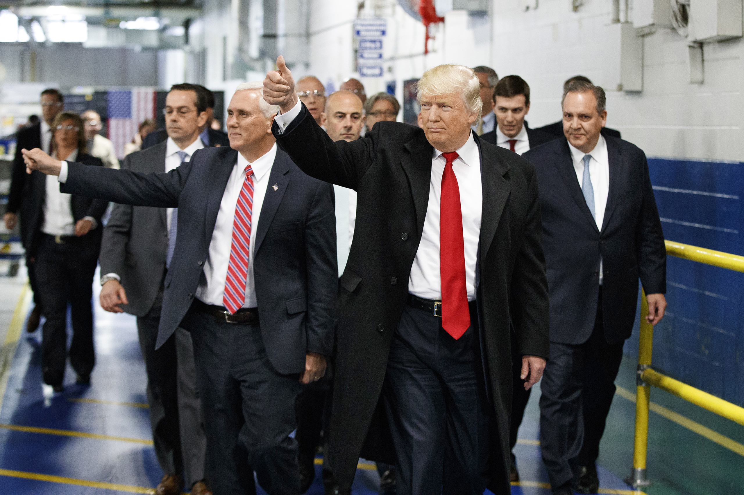 President-elect Trump and Vice President-elect Mike Pence at a Carrier plant in December.
