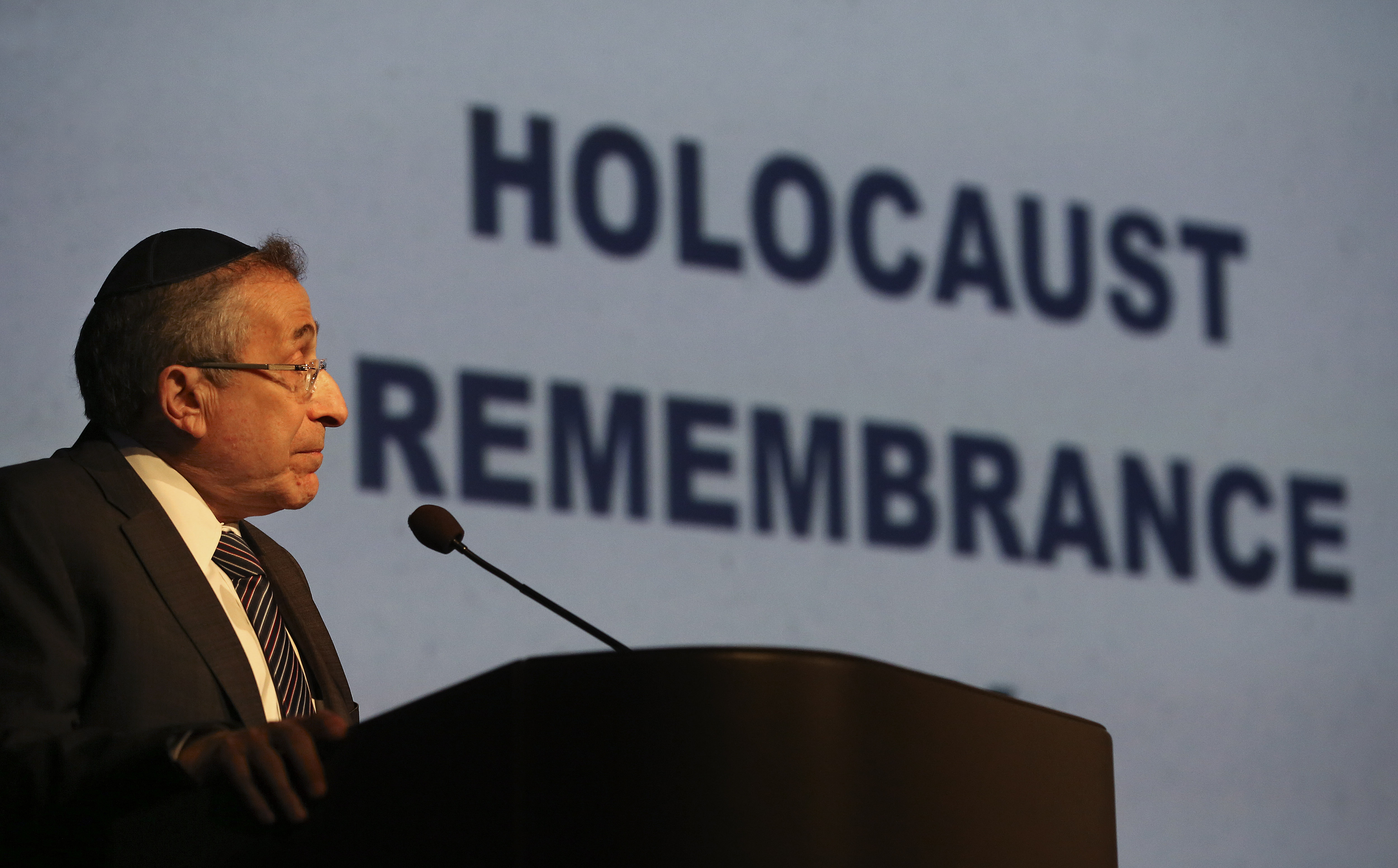 Rabbi Marvin Hier, Founder and Dean of the Simon Wiesenthal Center in Los Angeles, delivers the keynote address during Holocaust Remembrance Day at the Simon Wiesenthal Center on April 16, 2015 in Los Angeles, California.