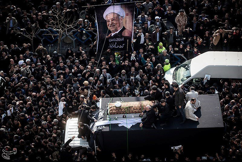 In this handout photo, mourners take part in the funeral of former Iranian President Akbar Hashemi Rafsanjani in Tehran on Jan. 10, 2017.