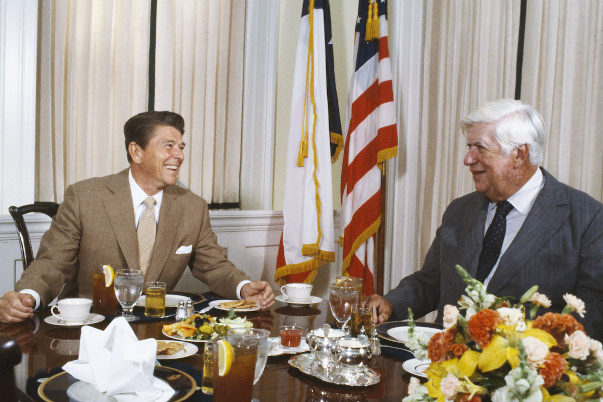 U.S. President Ronald Reagan and Speaker of the House of Representatives, Tip (Thomas Philip) O'Neill share a meal at the White House September 1981 in Washington, DC.