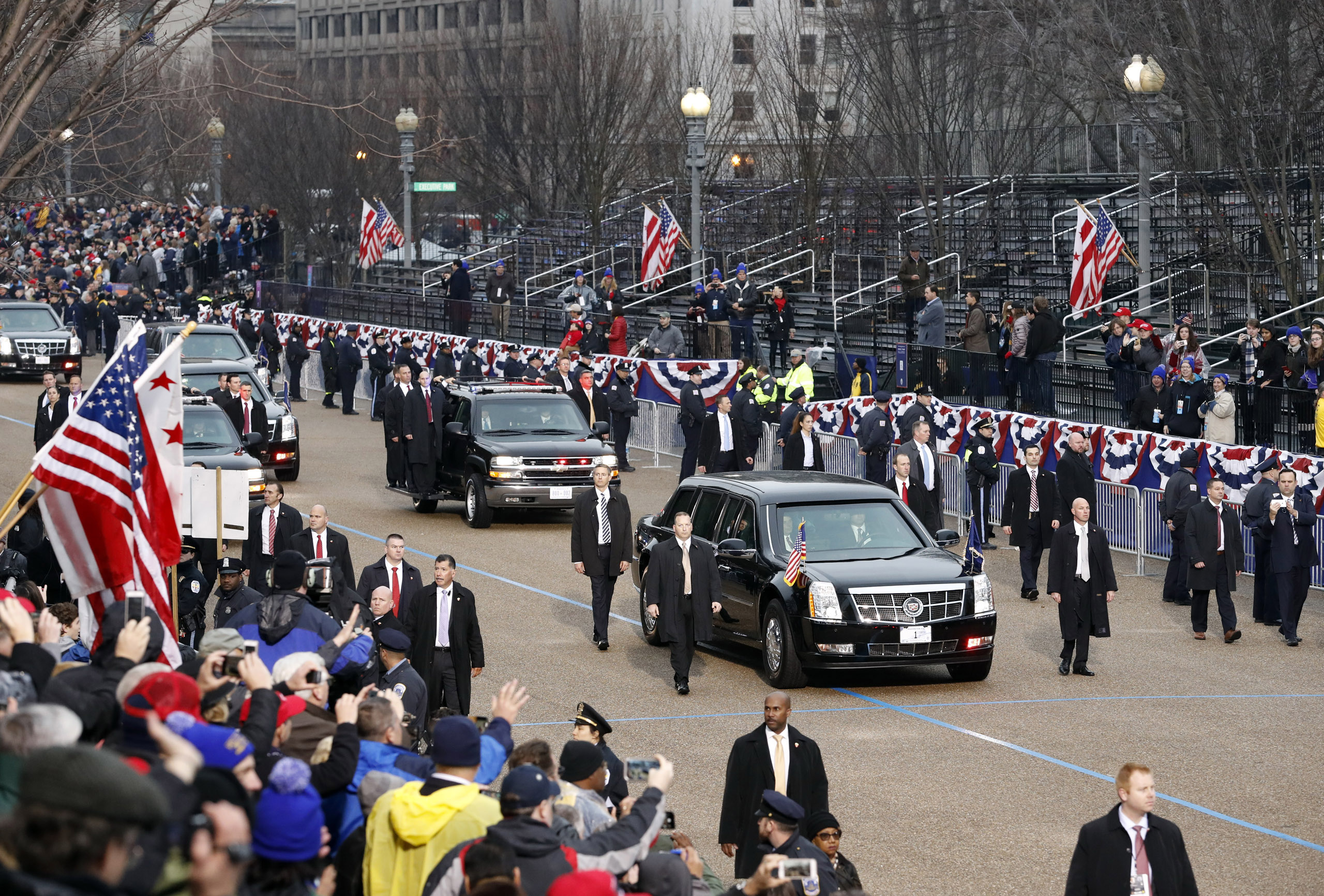 President Donald Trump's armored limousine is escorted for the inaugural parade in Washington, on Jan. 20, 2017.