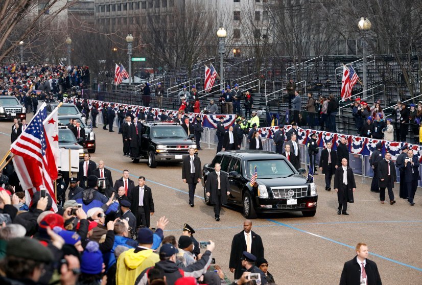 President Donald Trump's armored limousine is escorted for the inaugural parade in Washington DC, on Jan. 20, 2017.