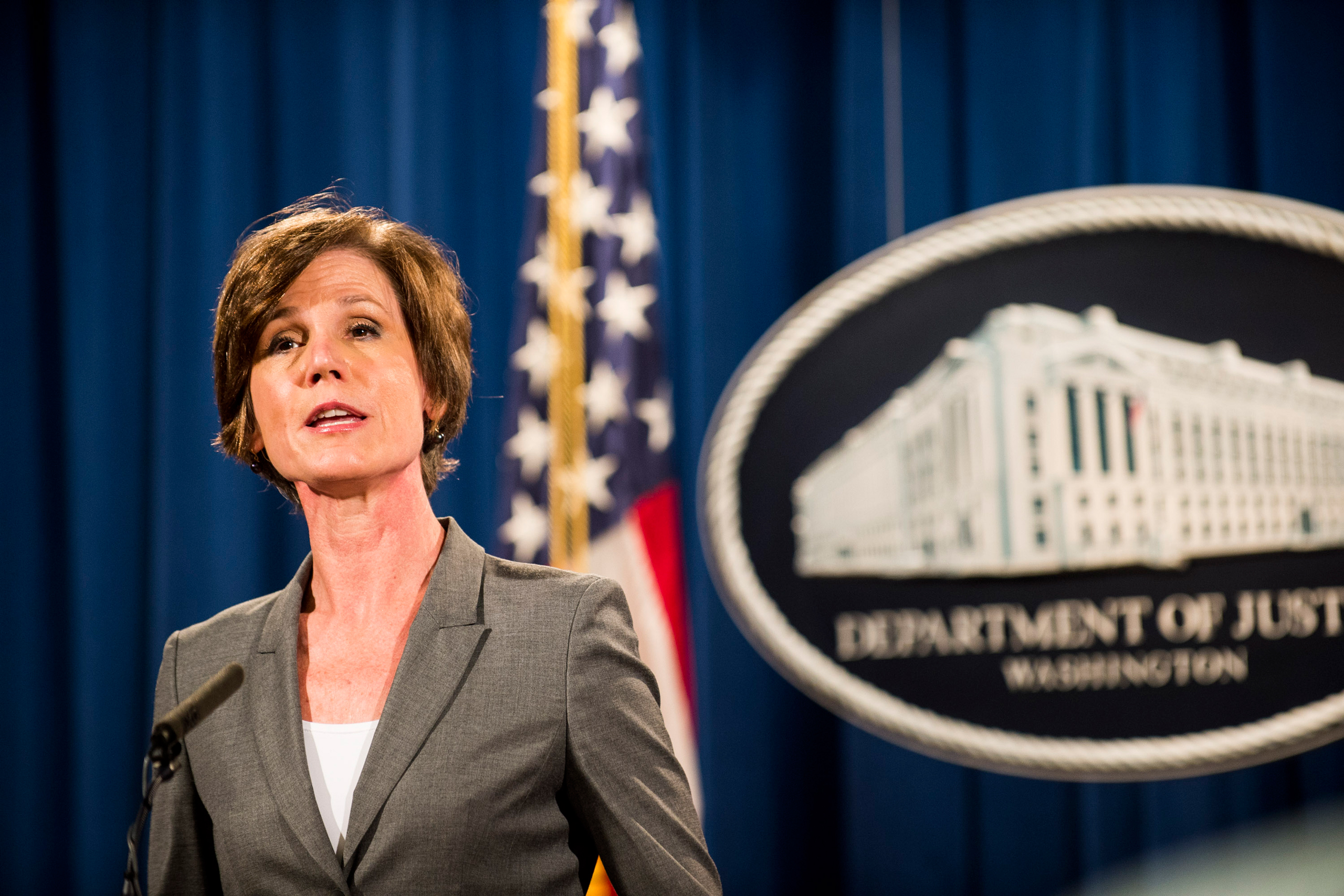 Deputy Attorney General Sally Q. Yates speaks during a press conference at the Department of Justice in Washington on June 28, 2016.